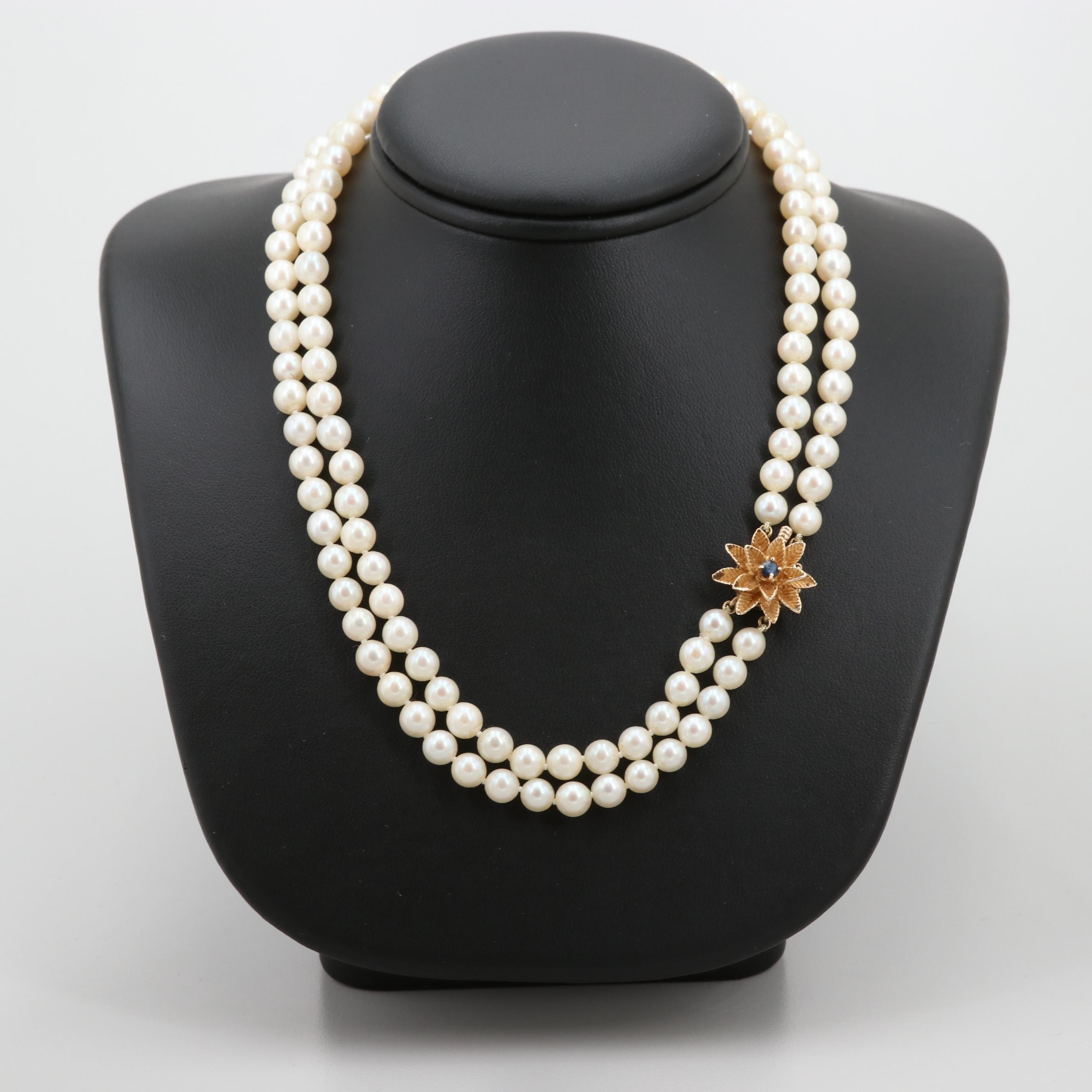 14K Yellow Gold Cultured Pearl Double Strand Necklace with Sapphire Flower Clasp
