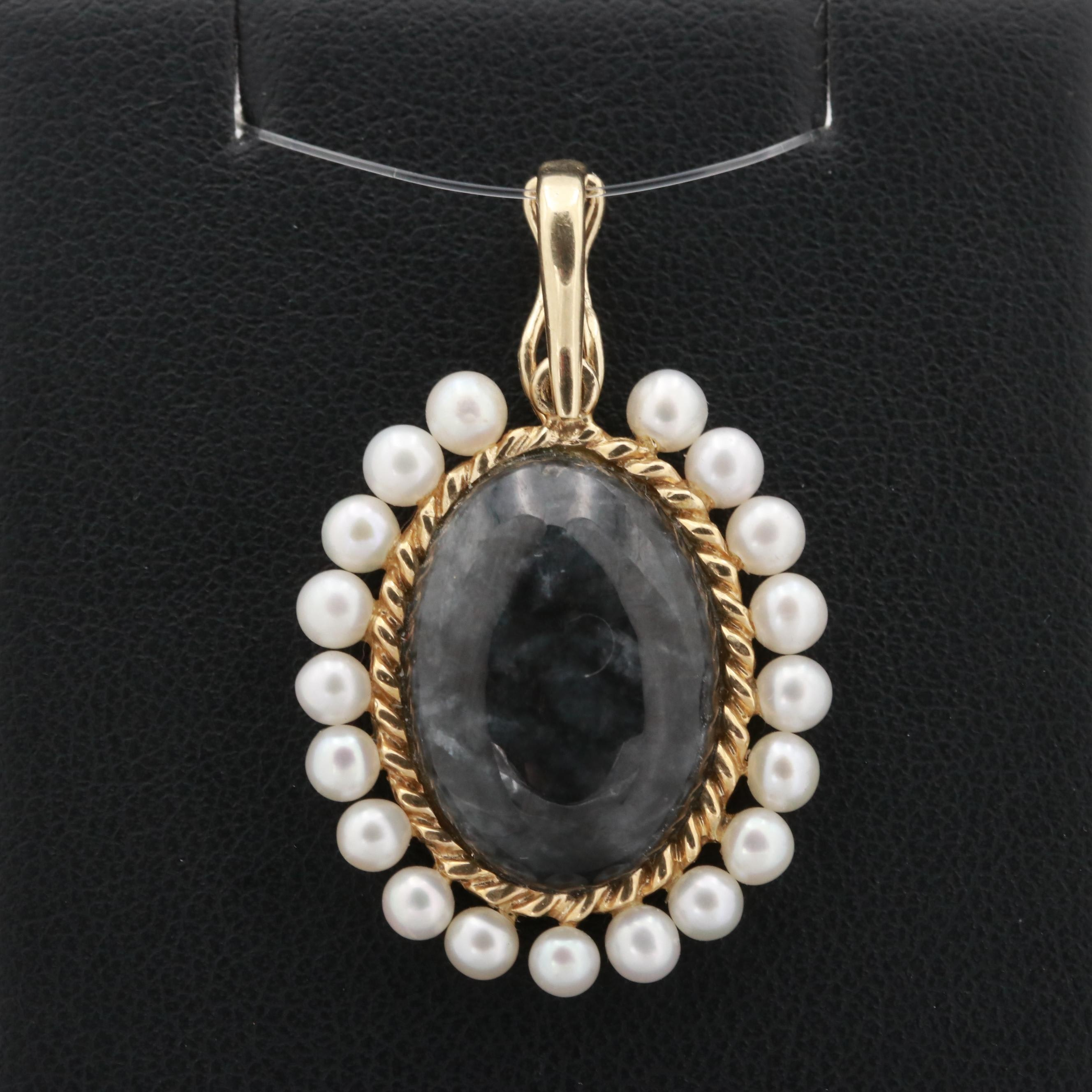 14K Yellow Gold Cultured Pearl and Jadeite Enhancer Pendant