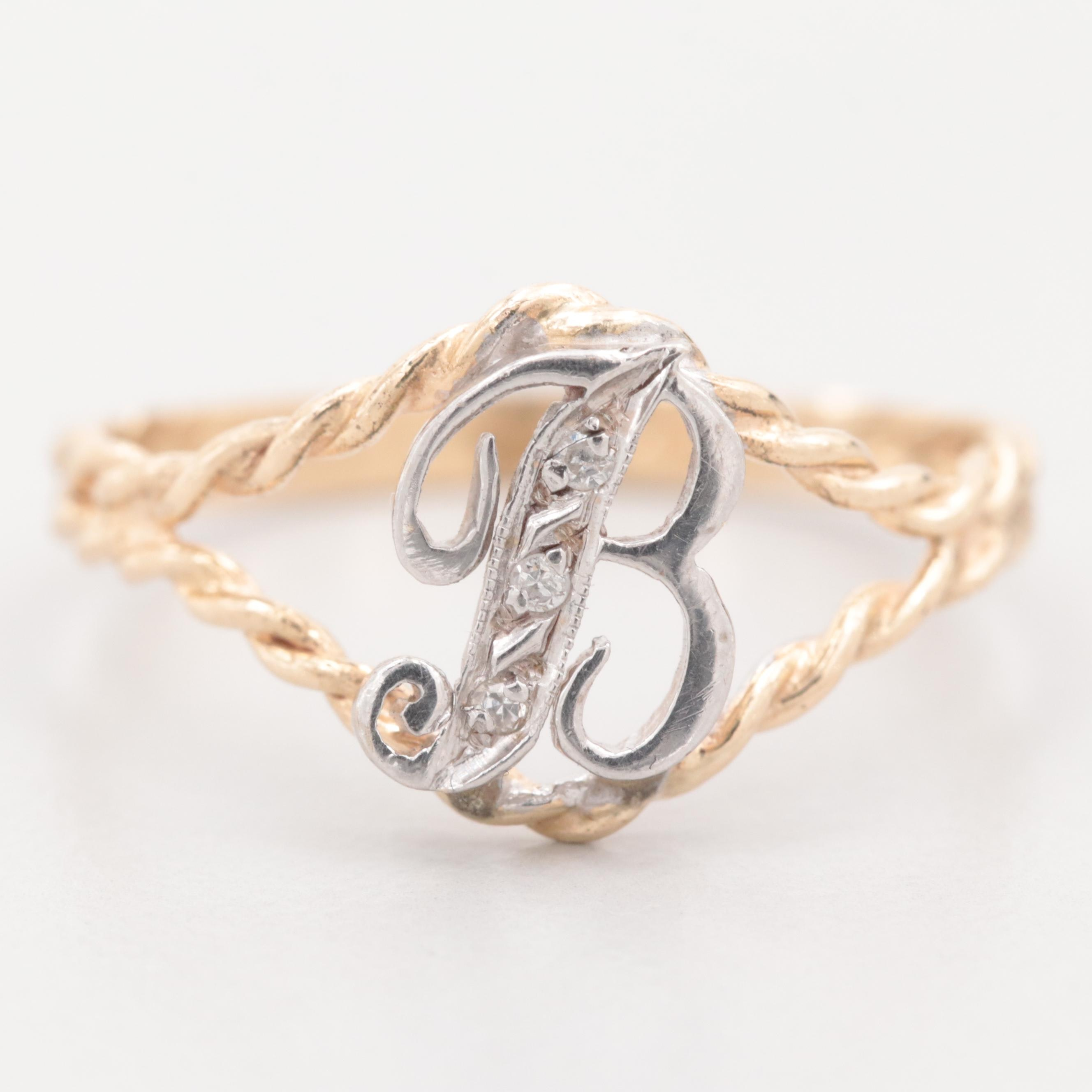 """14K Yellow Gold Diamond Initial """"B"""" Ring with White Gold Accent"""