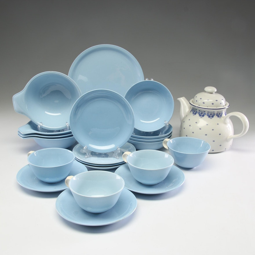 "Annaburg Porcelain Teapot with Homer Laughlin ""Skytone"" Dinnerware"
