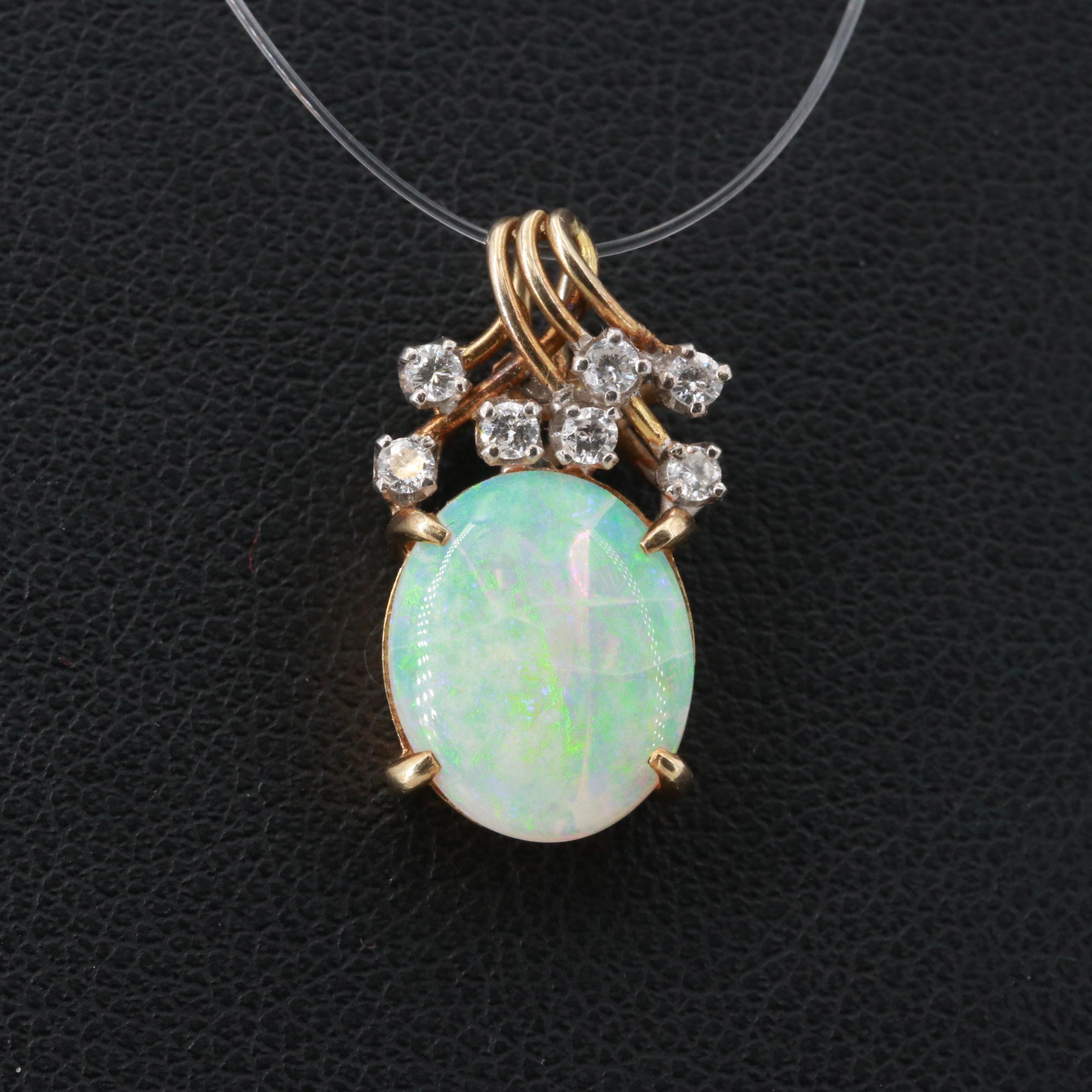 14K Yellow Gold Diamond and Opal Pendant