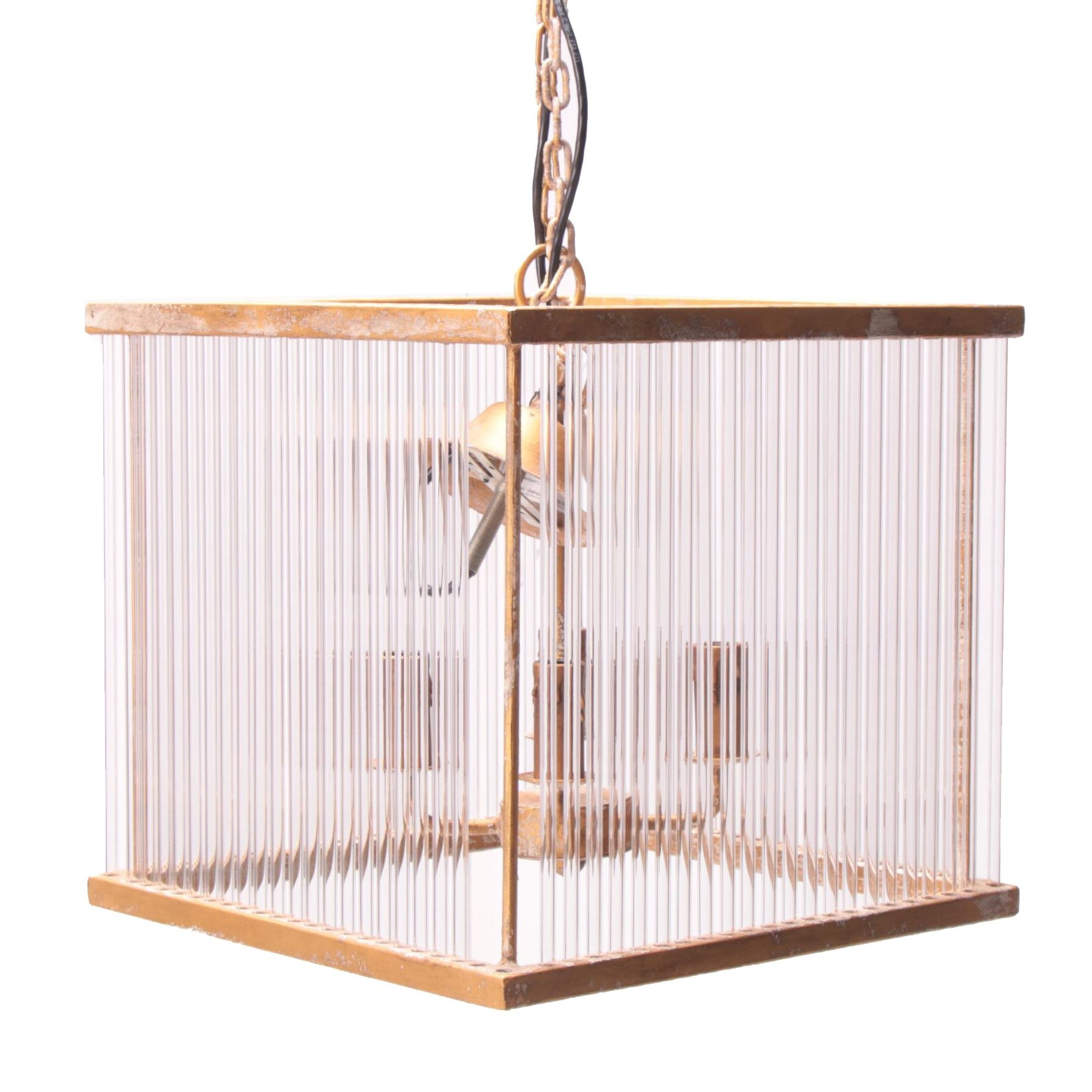"""Hollywood Regency Style """"Milano"""" Gold Tone Metal and Glass Cube Chandelier"""