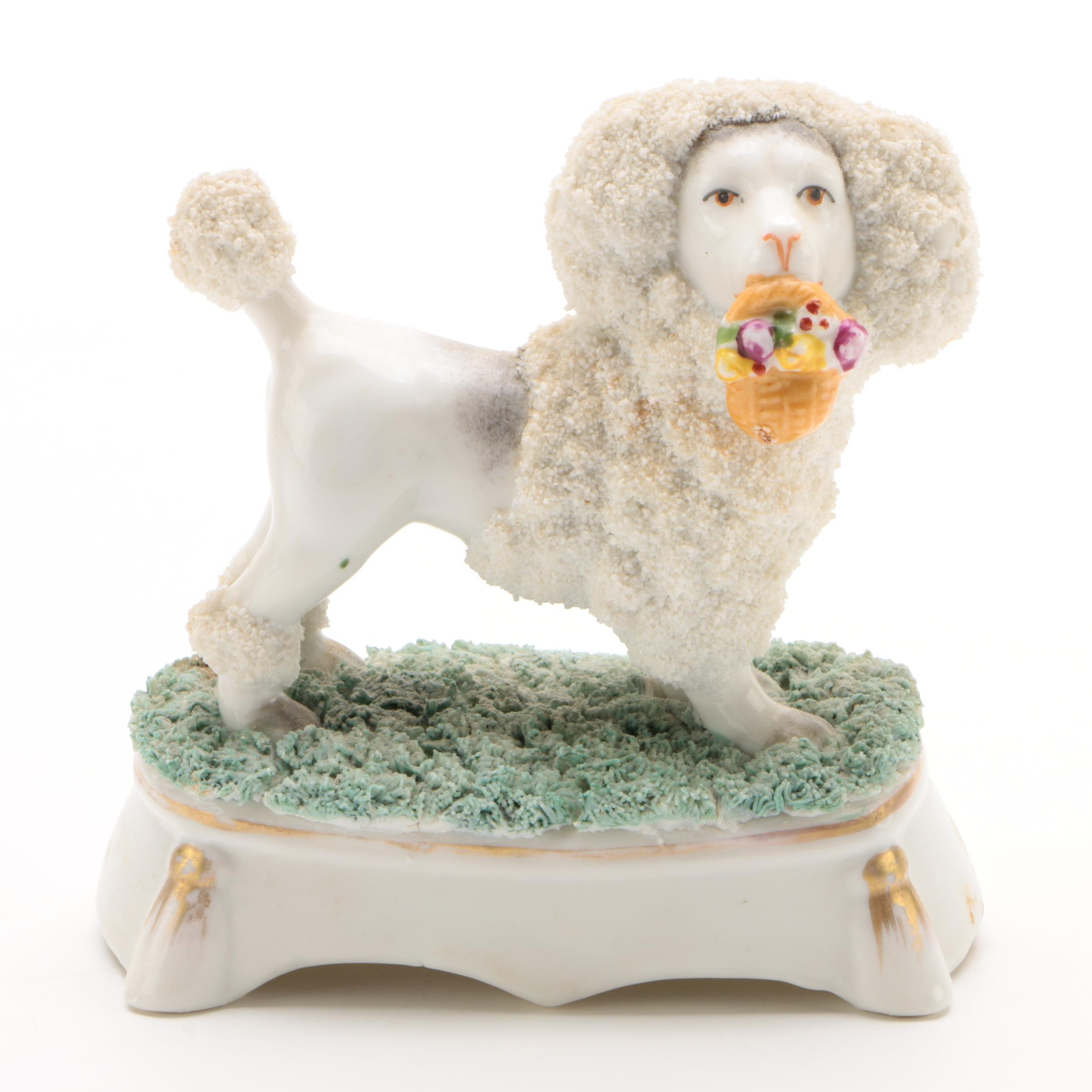 Staffordshire Hand-Painted Bocage Poodle with Basket of Flowers, Late 19th C.