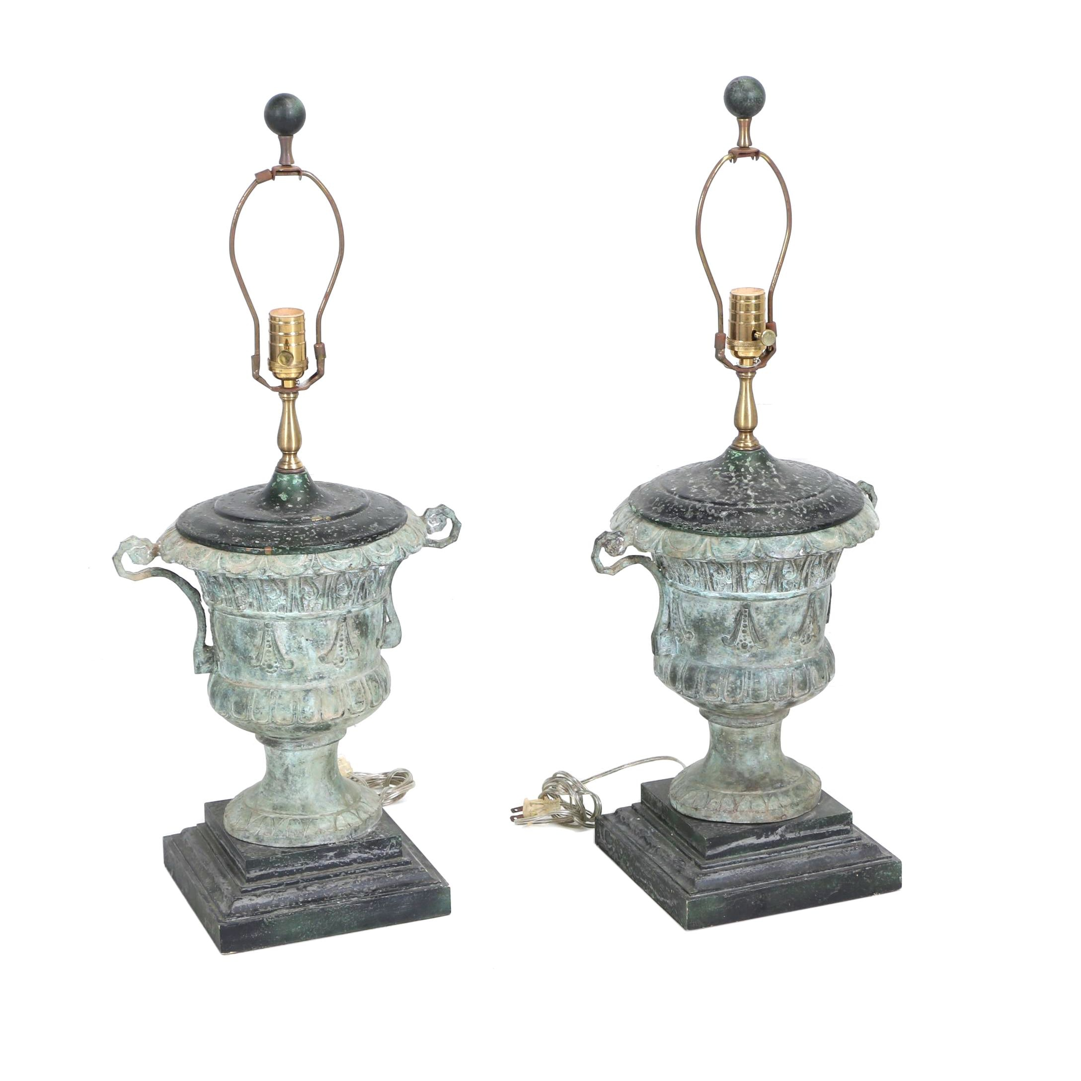 Pair of Neoclassical Style Cast Metal, Brass and Wood Campagna-Form Table Lamps