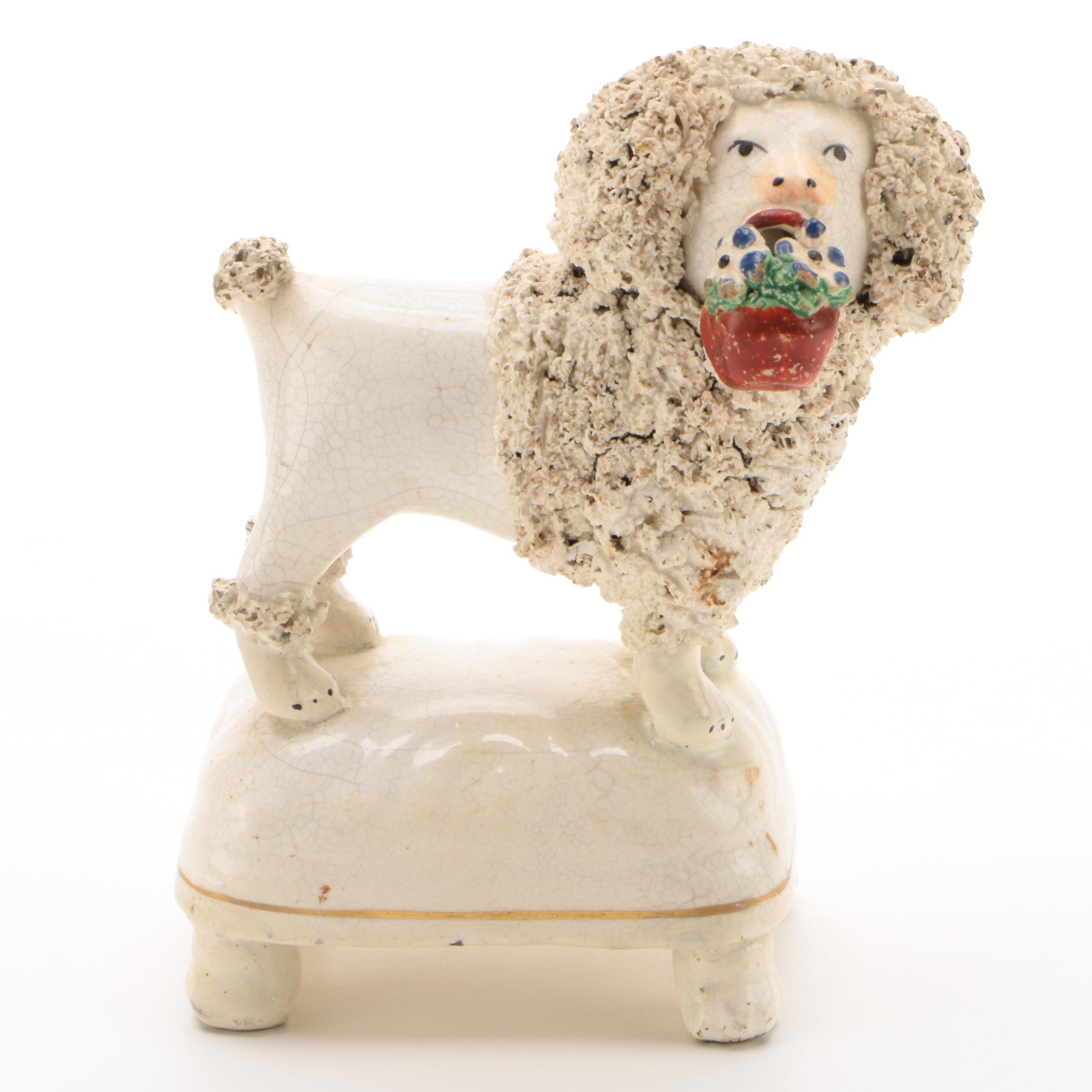 Staffordshire Hand-Painted Bocage Poodle Figurine, Late 19th Century