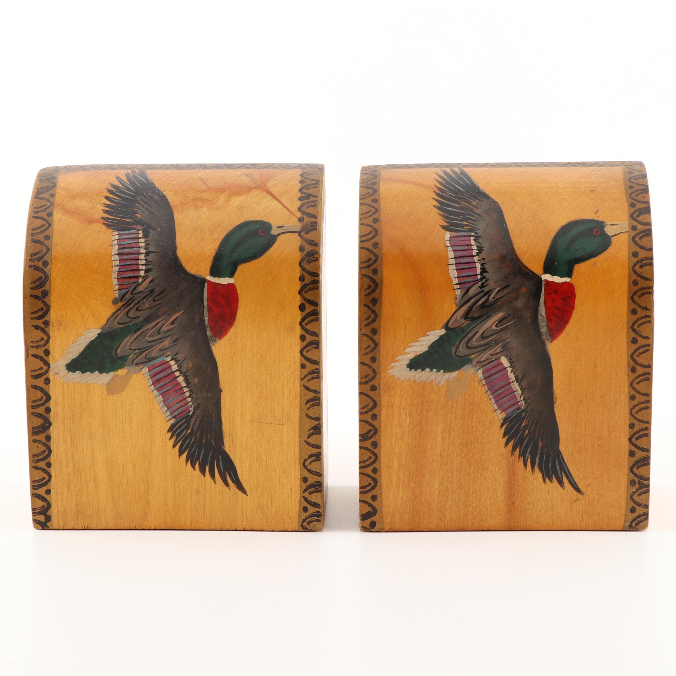 Hand-Painted Mallard Duck Bookends