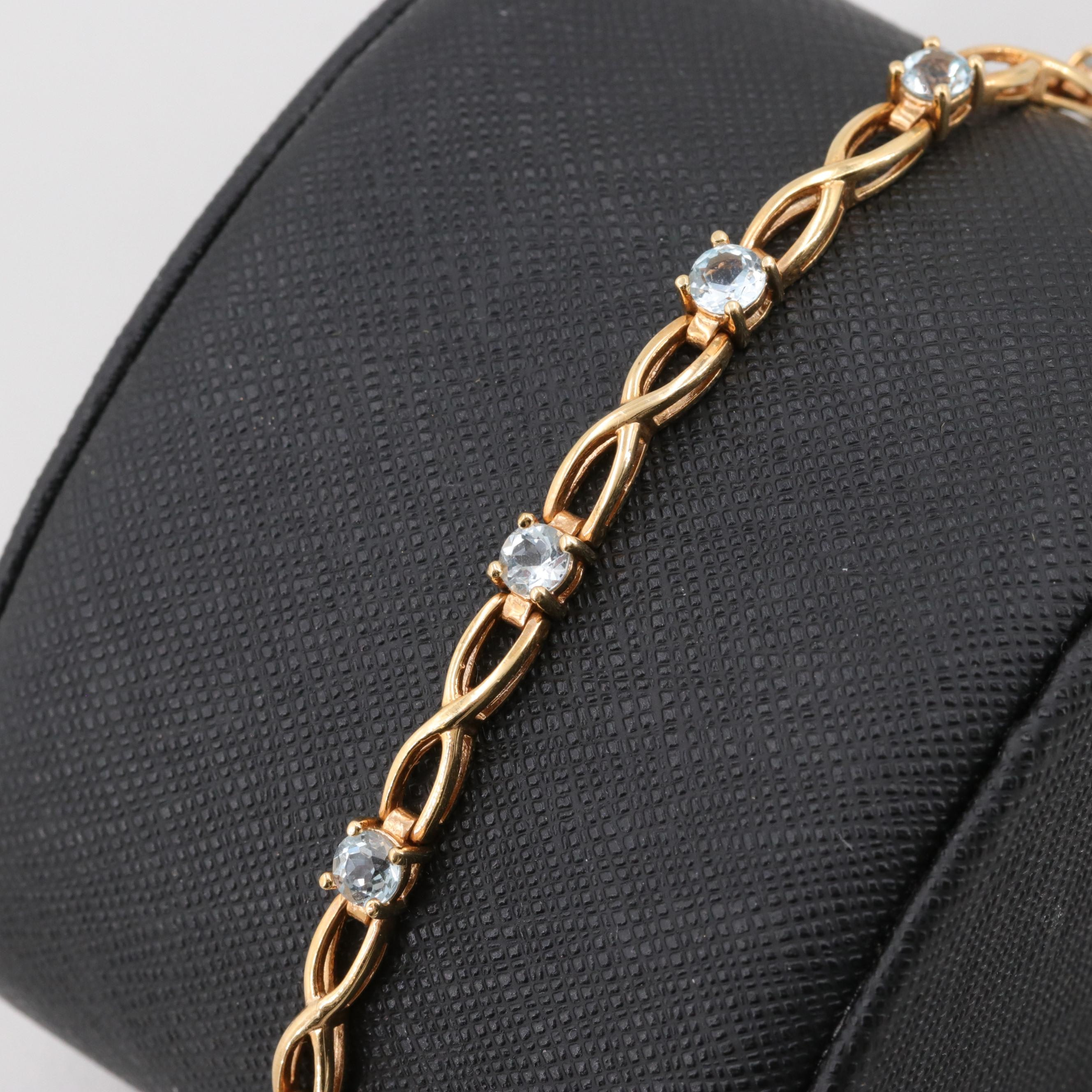 Gold Wash on Sterling Silver Topaz Bracelet
