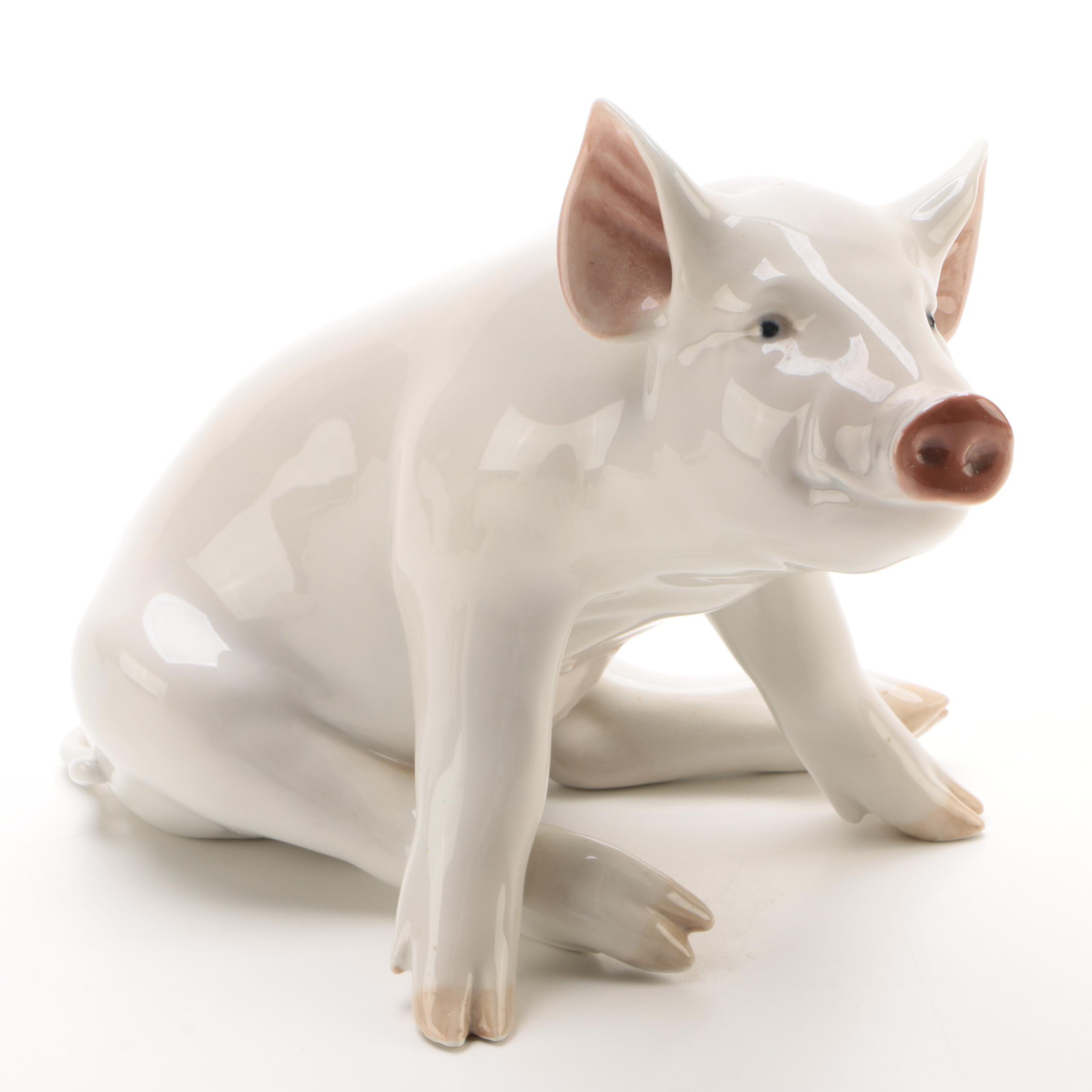 Royal Copenhagen Porcelain Pig Figurine, Circa 1923