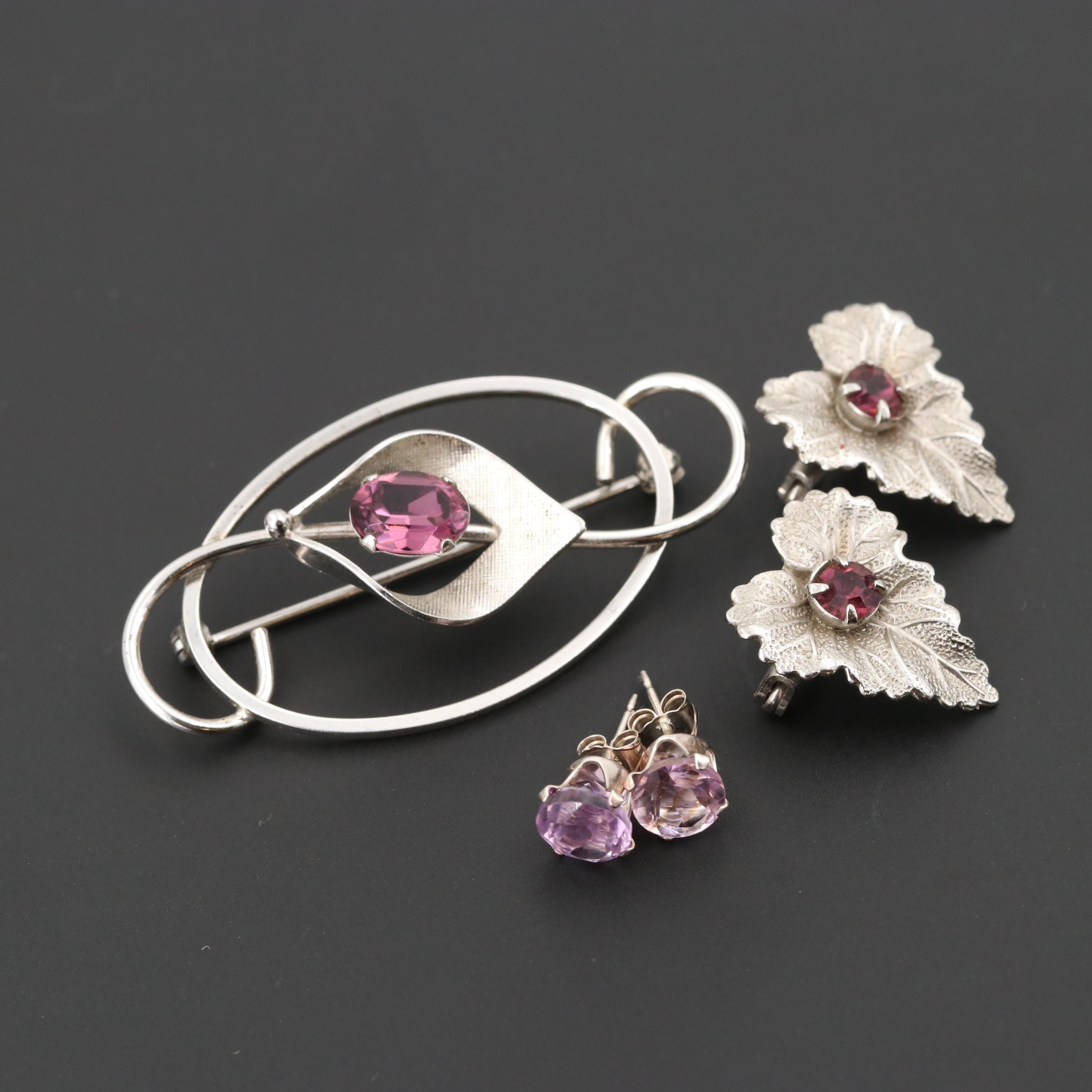 Sterling Silver Amethyst Brooches and Stud Earrings Featuring Van Dell