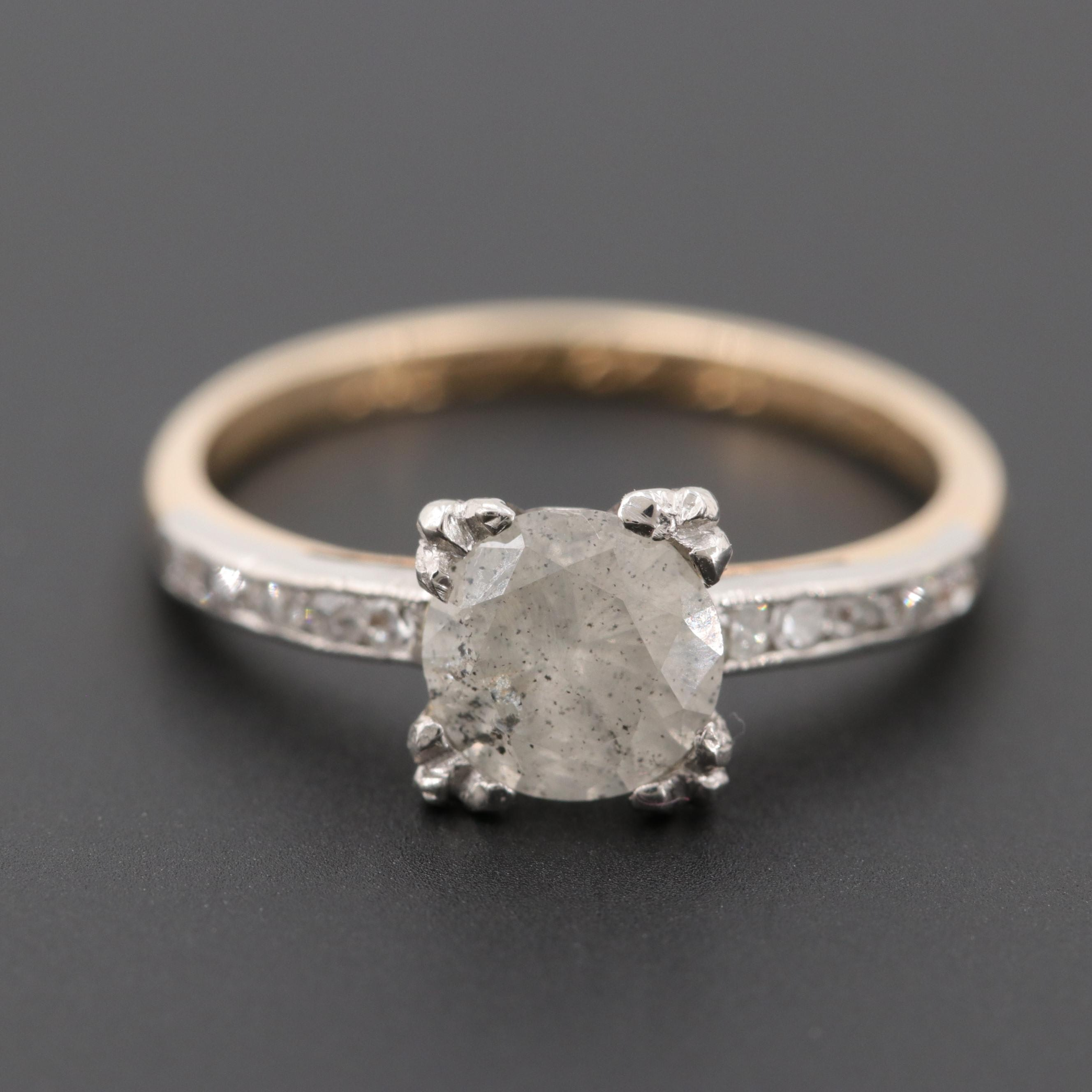 Circa 1940 14K Yellow Gold Diamond Ring with Platinum Accent