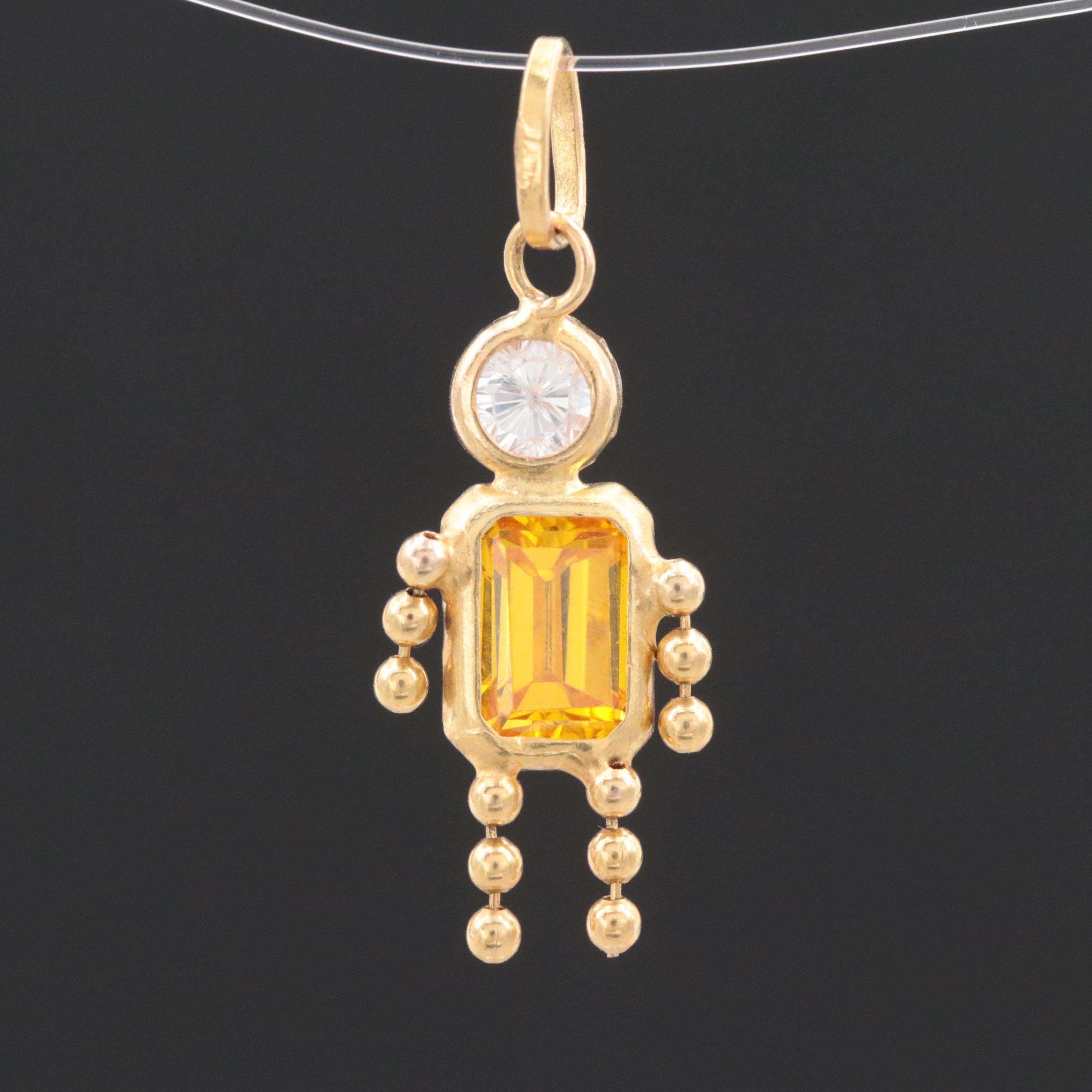 14K Yellow Gold Cubic Zirconia Birthstone Style Pendant
