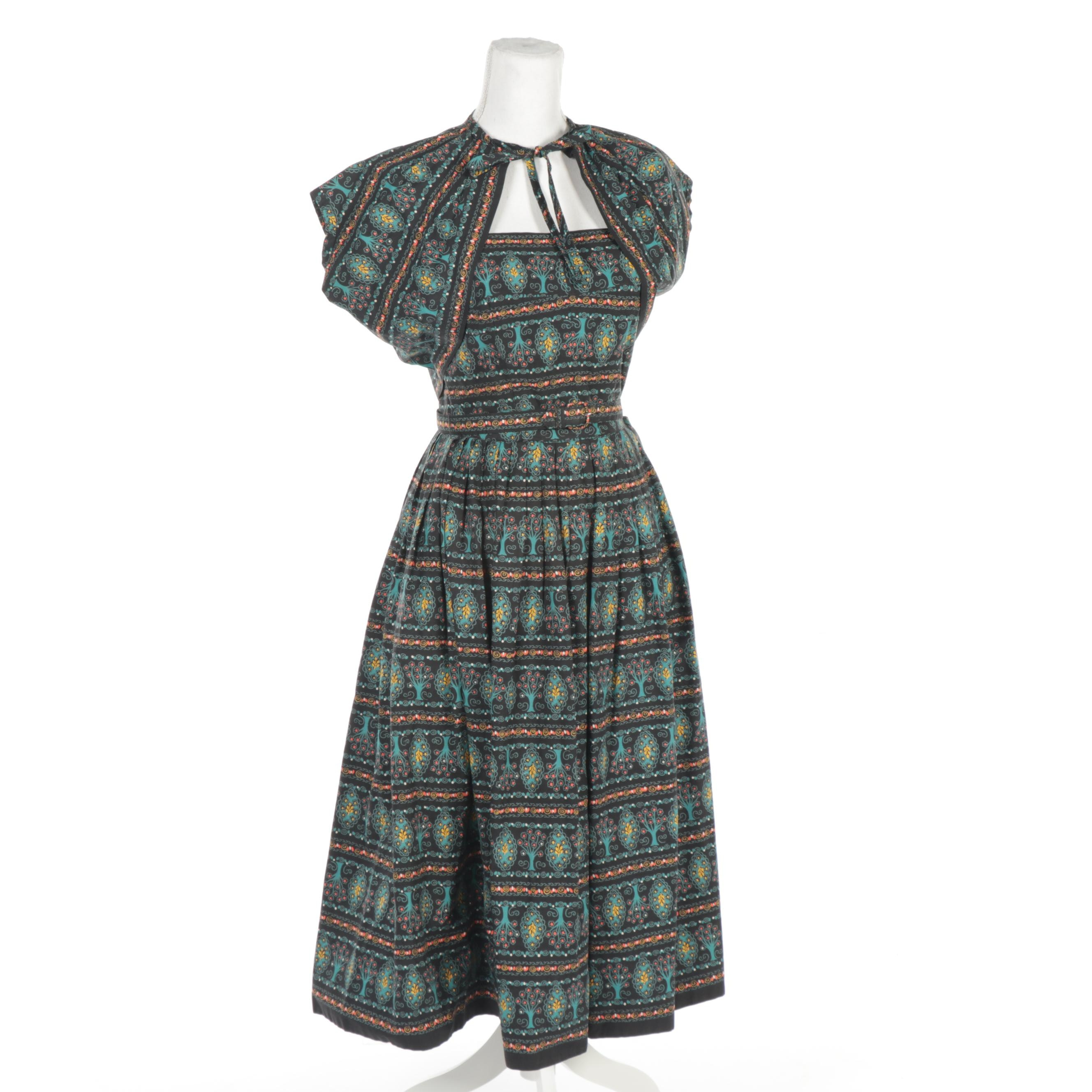 Women's Tree Patterned Strapless Dress with Matching Belt and Shrug, Vintage