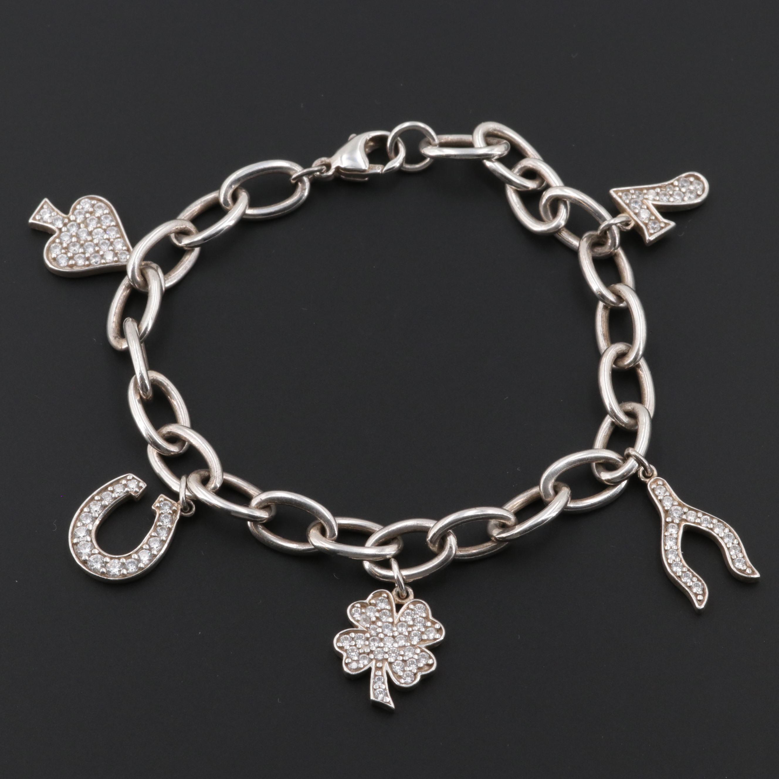 Sterling Silver Cubic Zirconia Good Luck Charm Bracelet