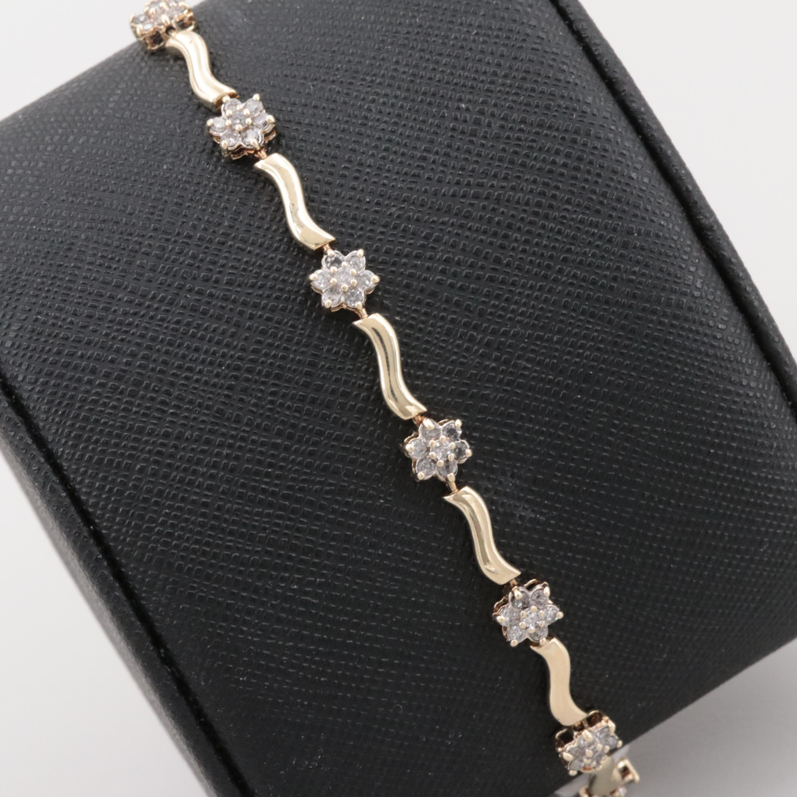 10K and 14K Yellow Gold 1.05 CTW Diamond Tennis Bracelet