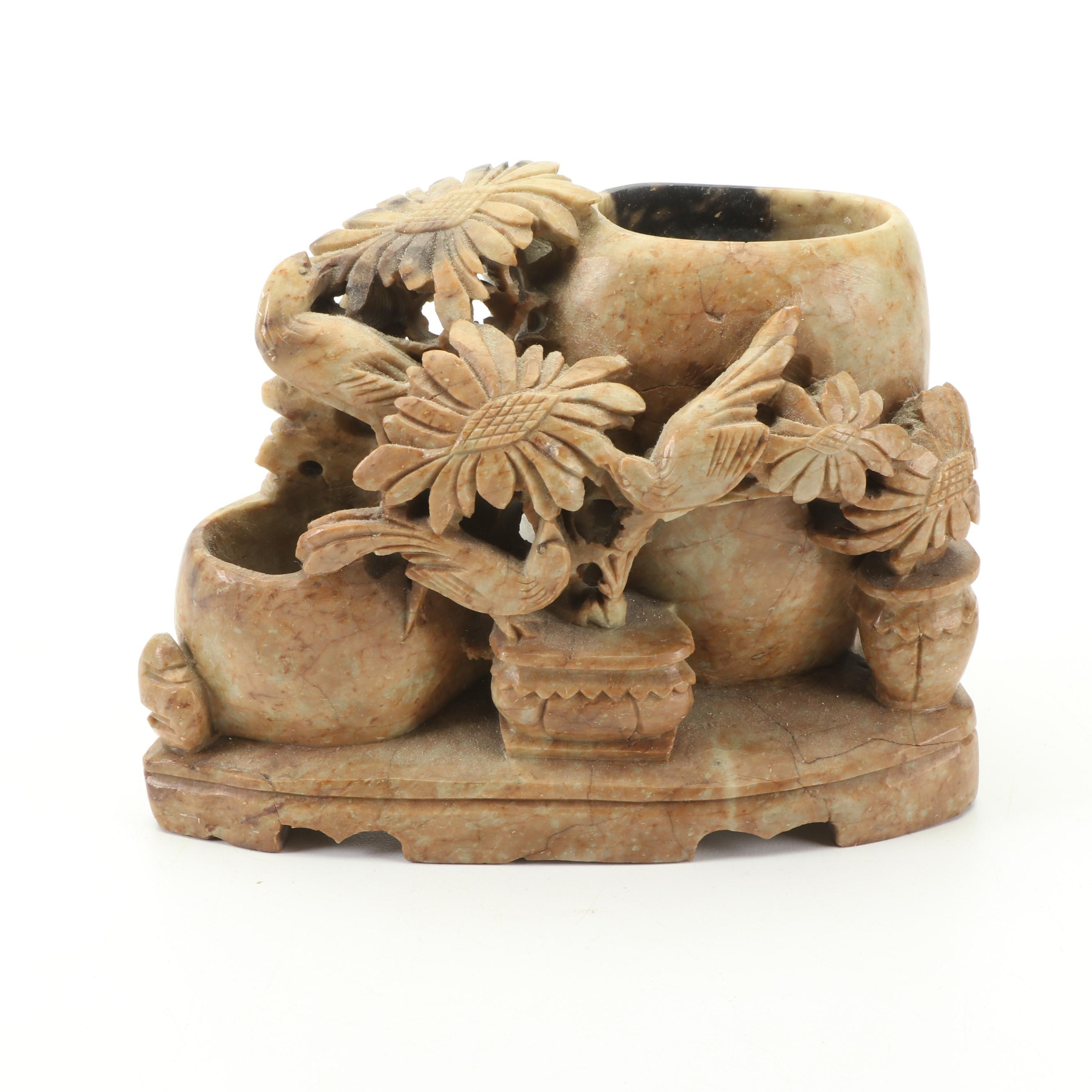 Small Carved Soapstone Vase with Bird and Flower Motif