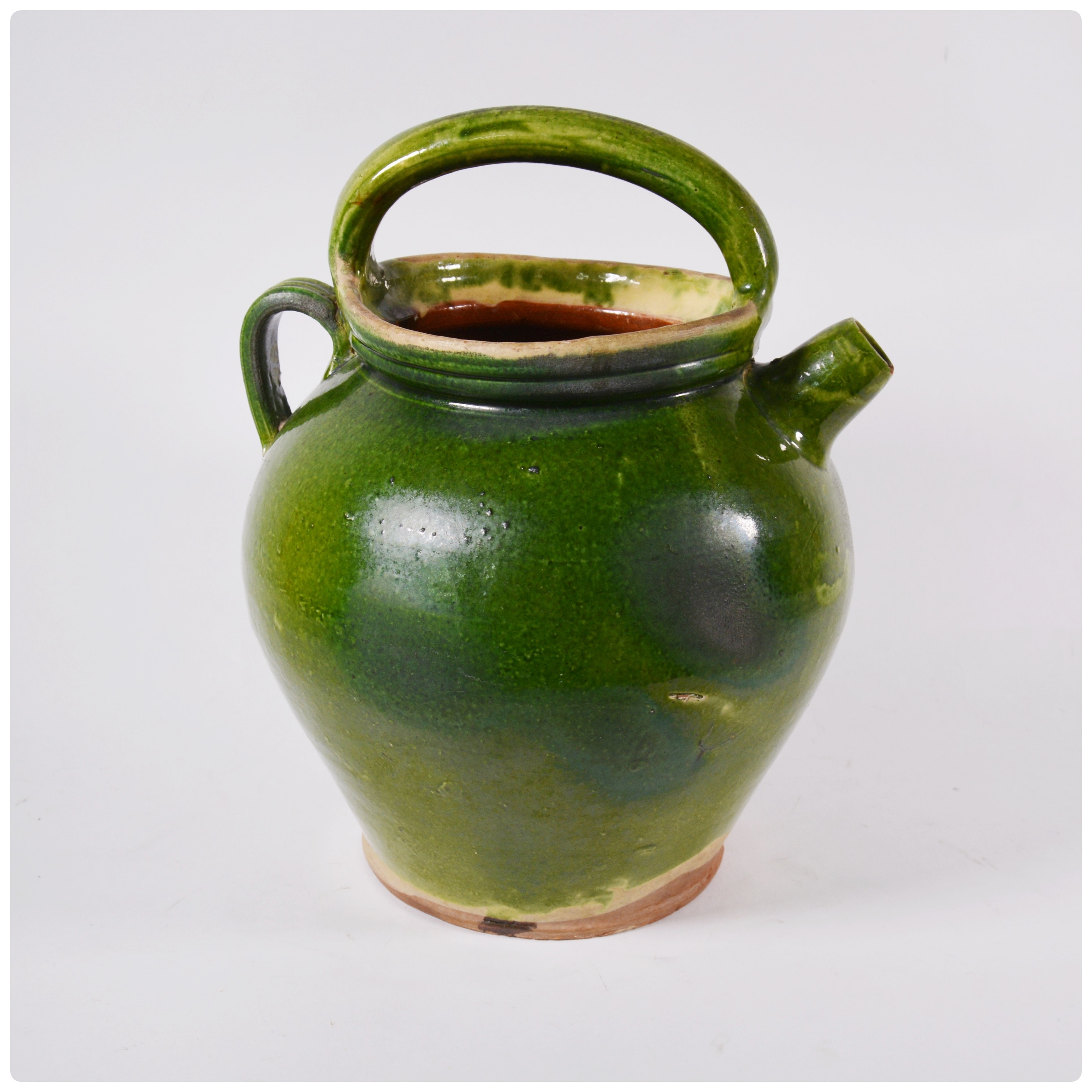 French Green Glazed Earthenware Water Jug