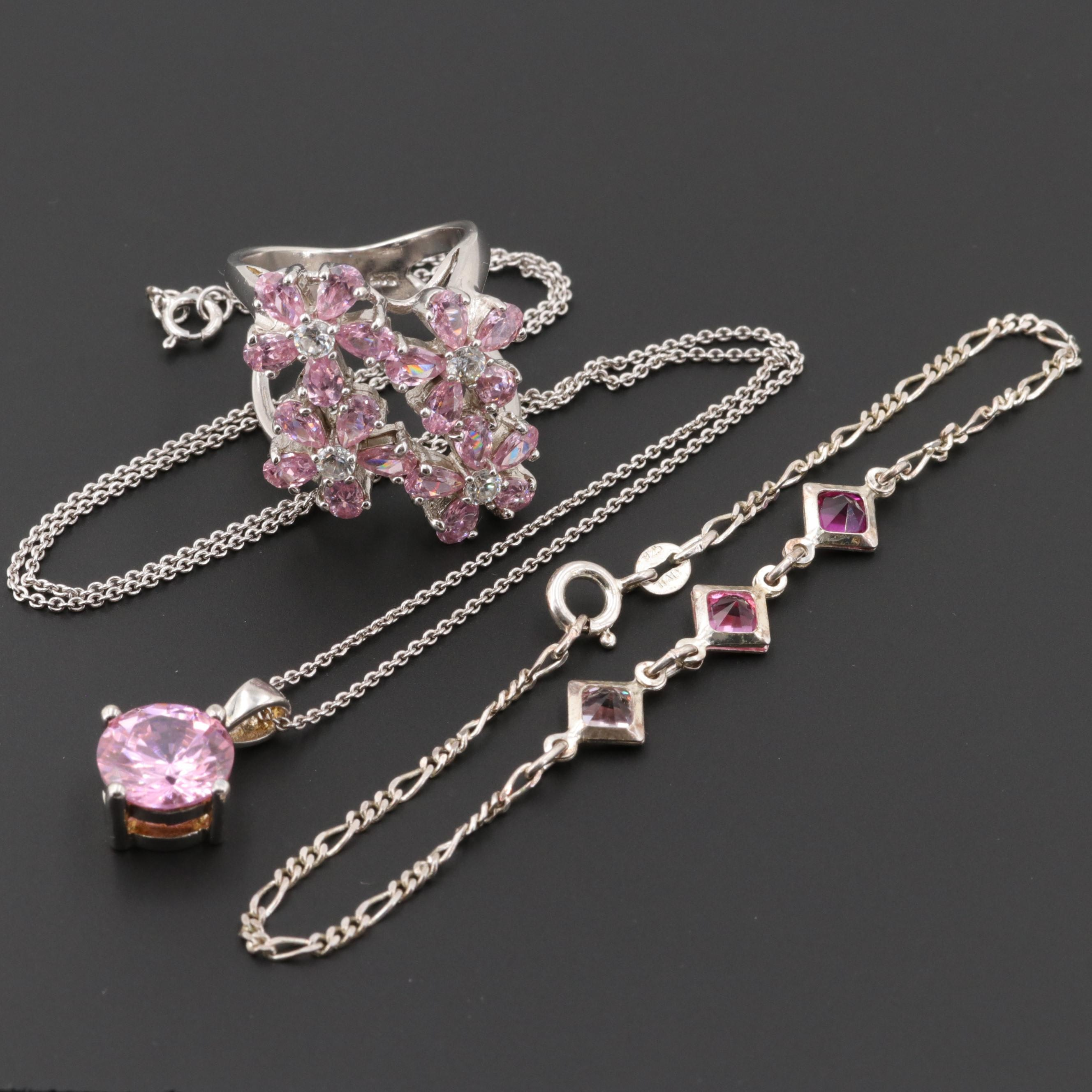 Sterling Silver Cubic Zirconia and Glass Ring Necklace and Bracelet