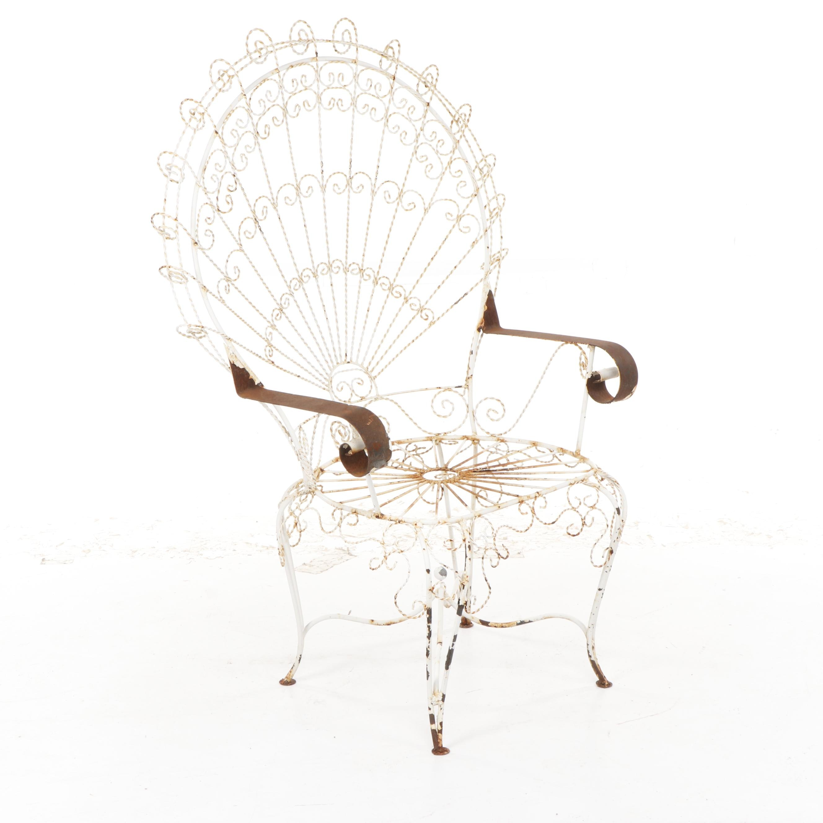 White Wrought Iron Wire Peacock Patio Armchair