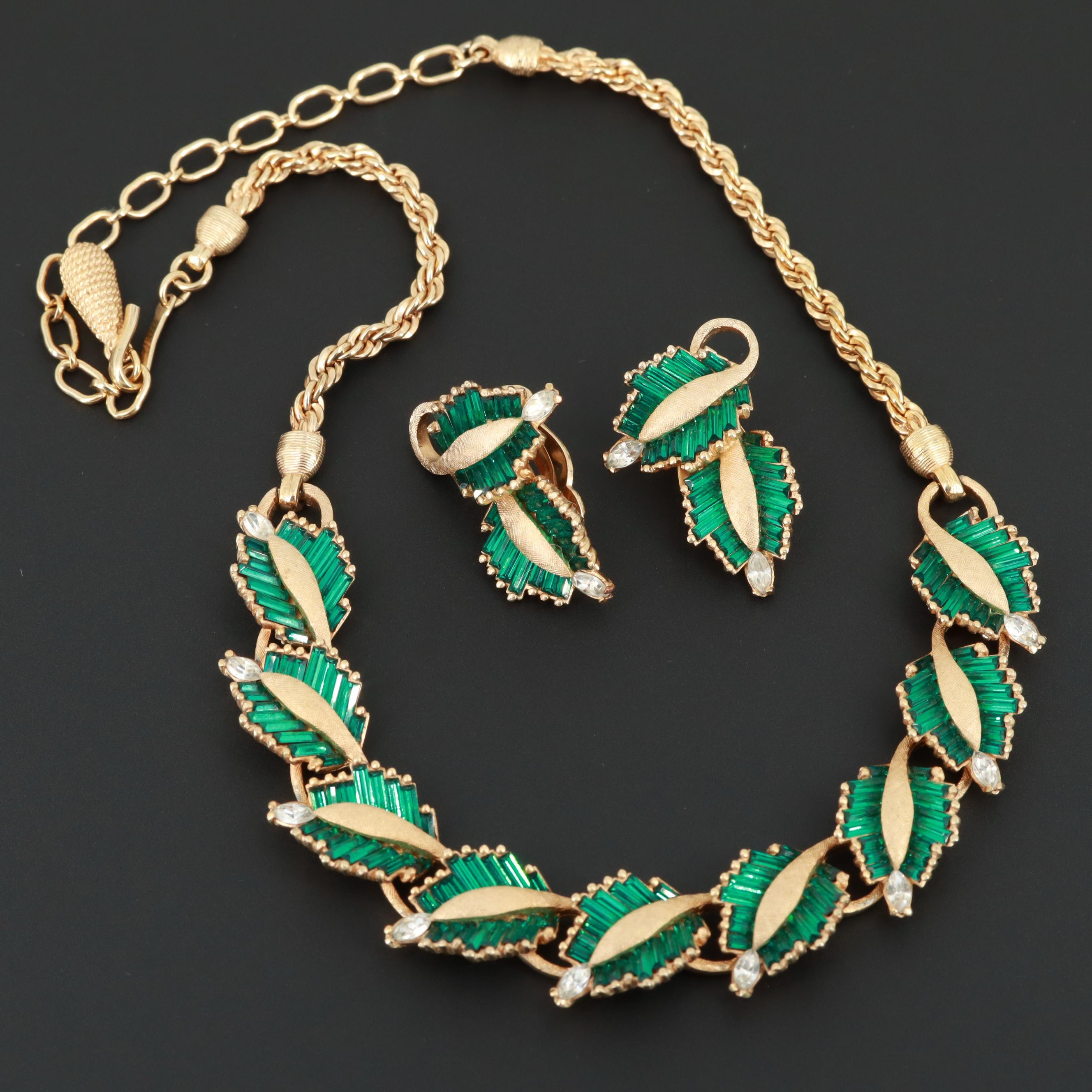 Pennino Gold Tone Foilback Glass Necklace and Earrings Set