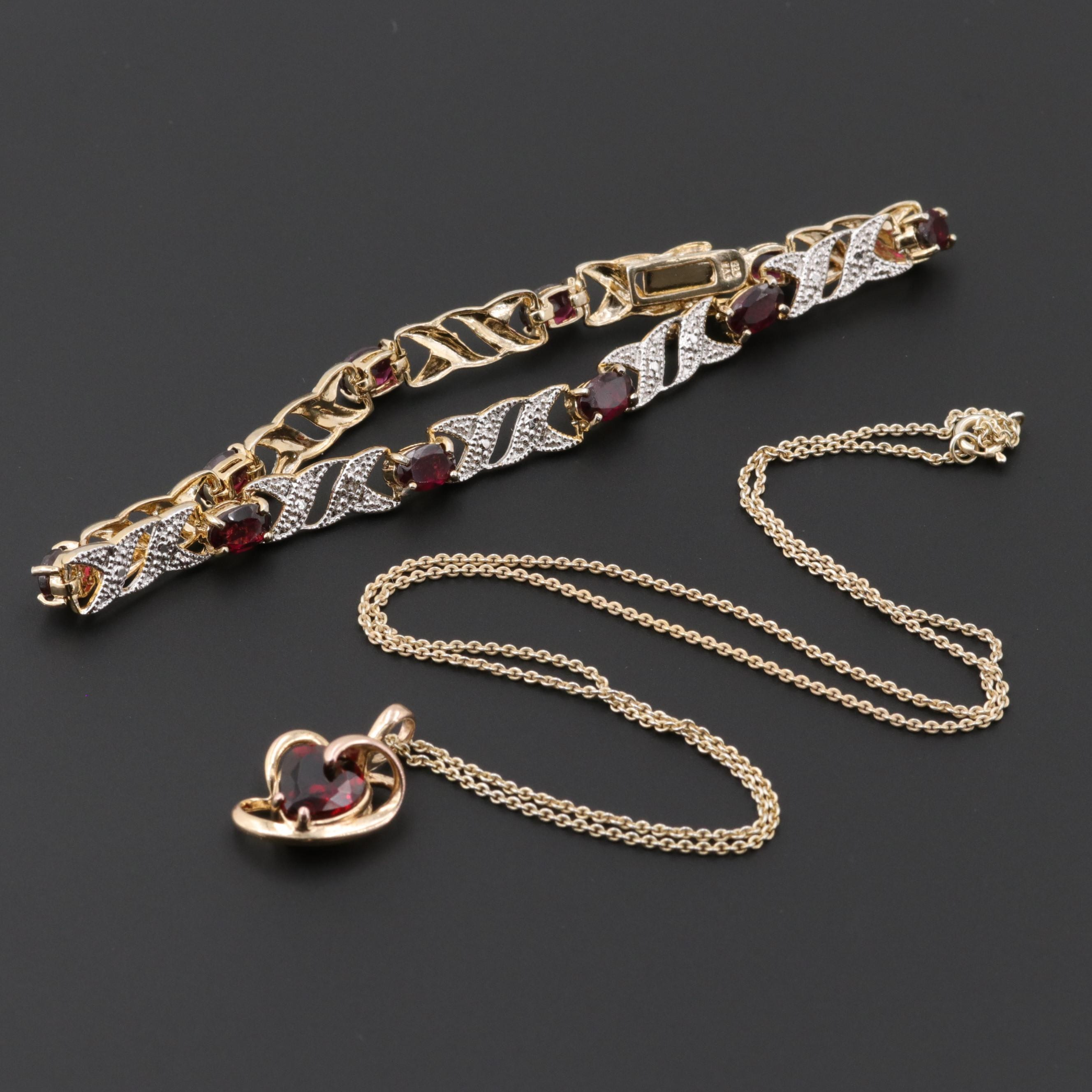 Sterling Silver Two Tone Garnet and Diamond Bracelet and Necklace Set