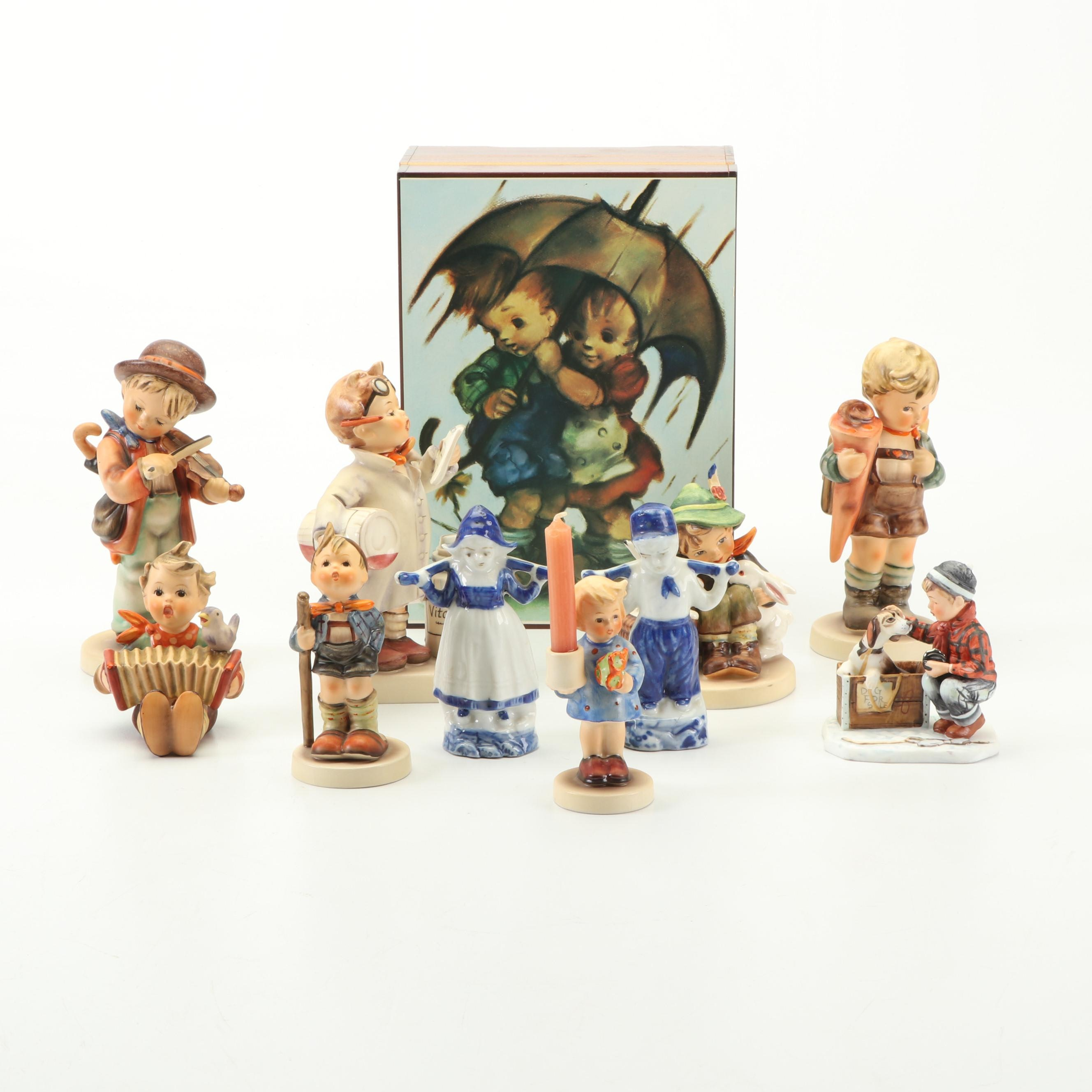 Vintage Hummel Music Box and Figurines with Other Porcelain Figurines