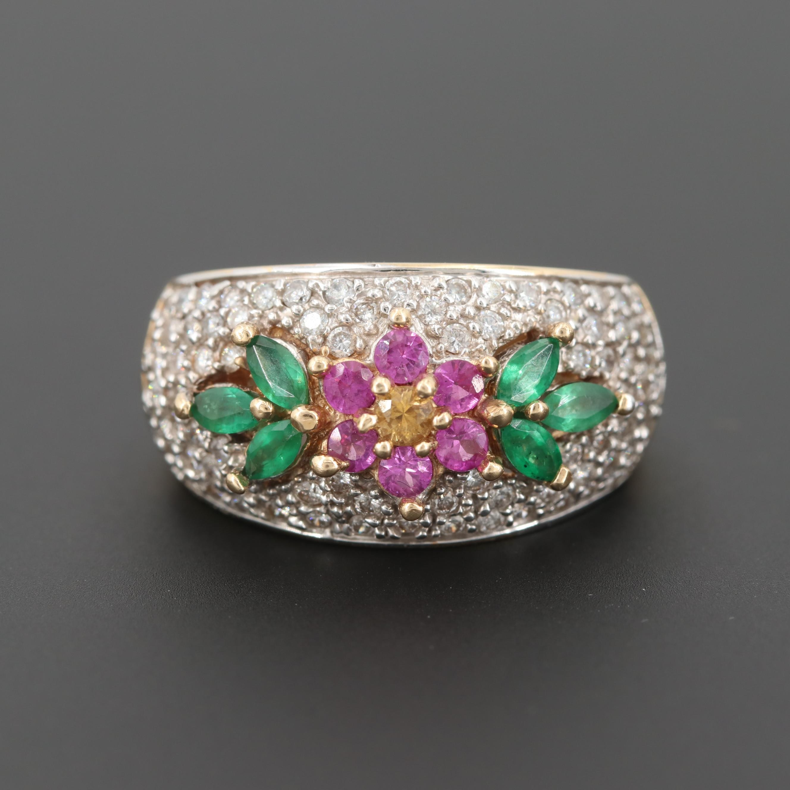14K Yellow Gold Diamond, Emerald, Fancy Yellow and Pink Sapphire Ring