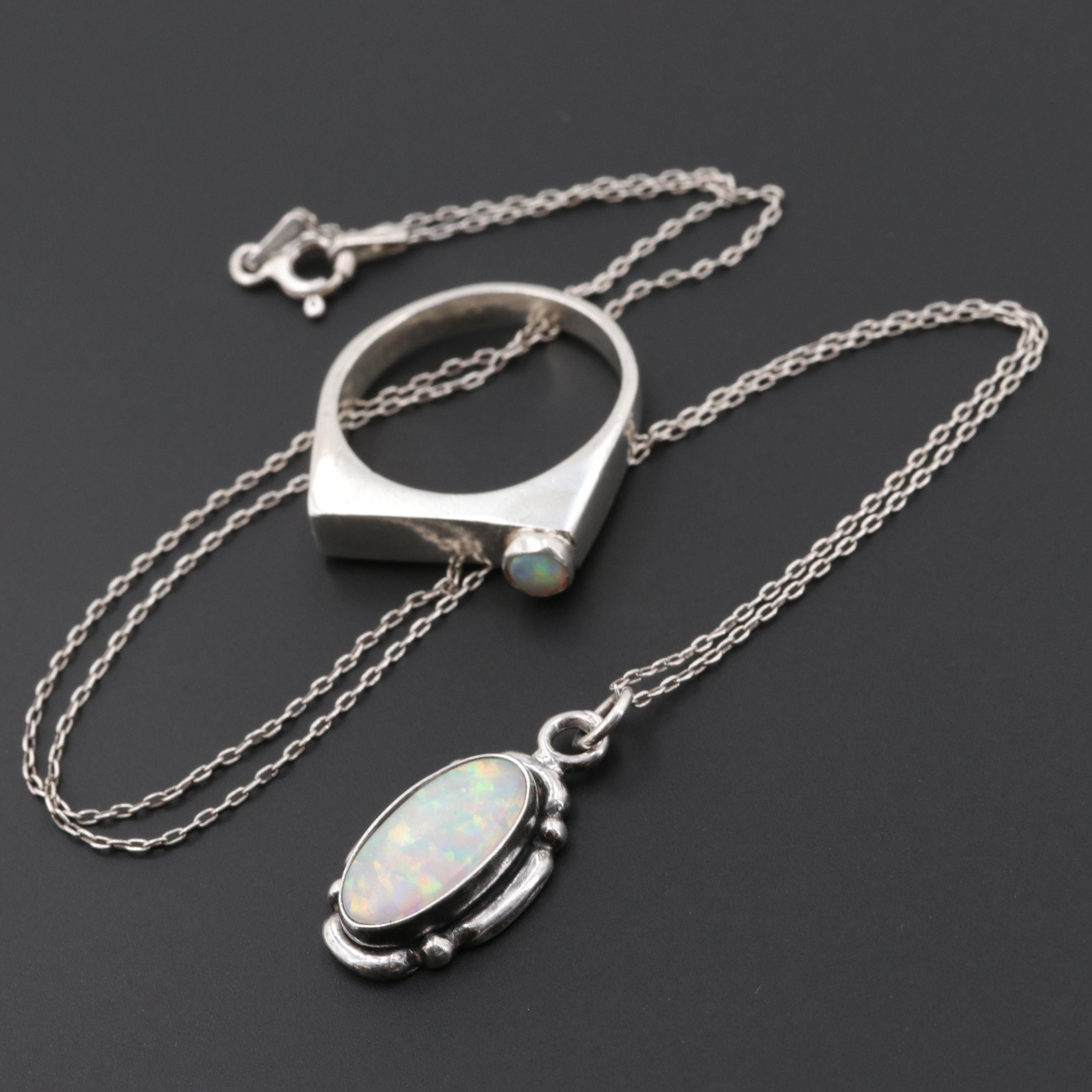 Sterling Silver Opal and Synthetic Opal Necklace and Ring