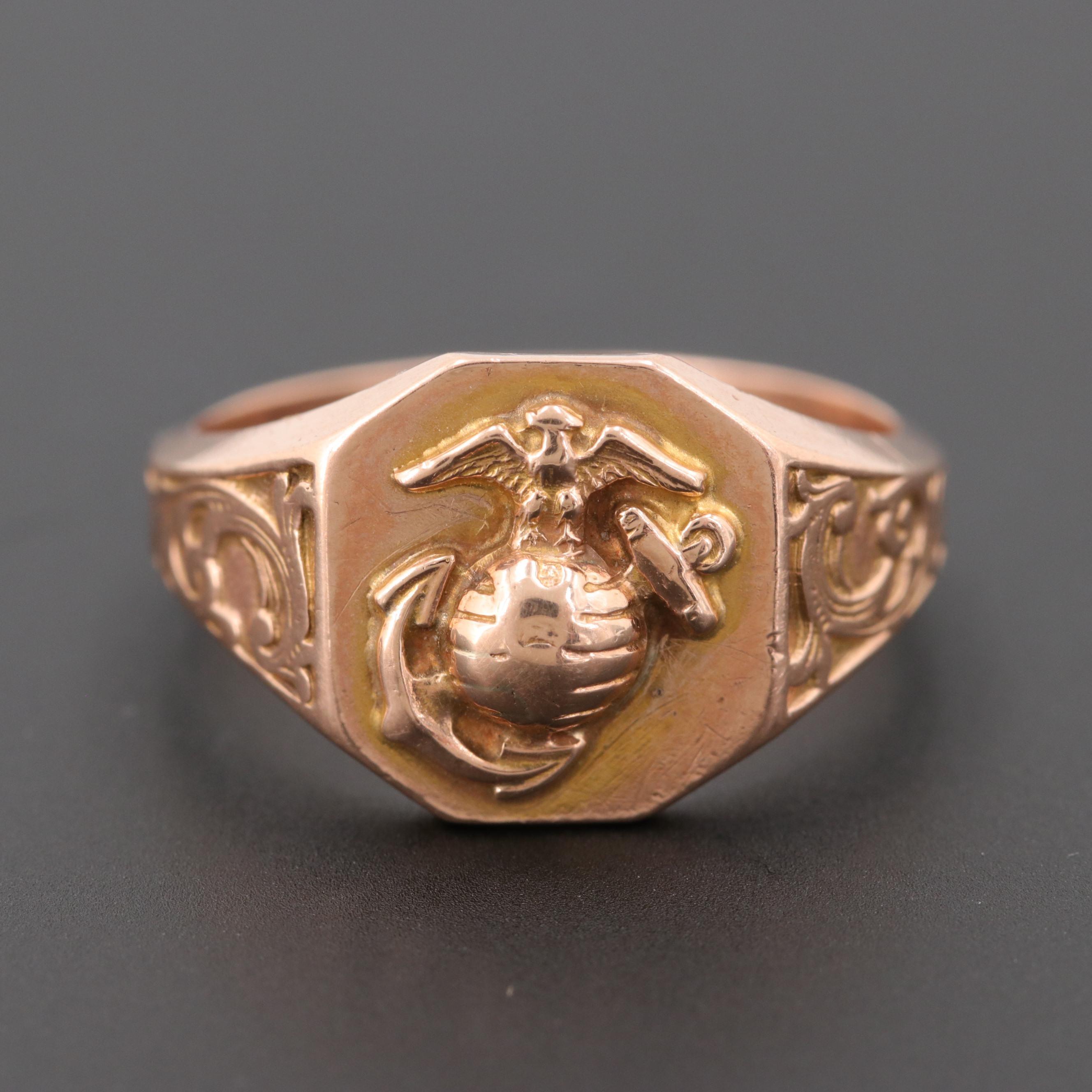 10K Rose Gold Marine Corps Insignia