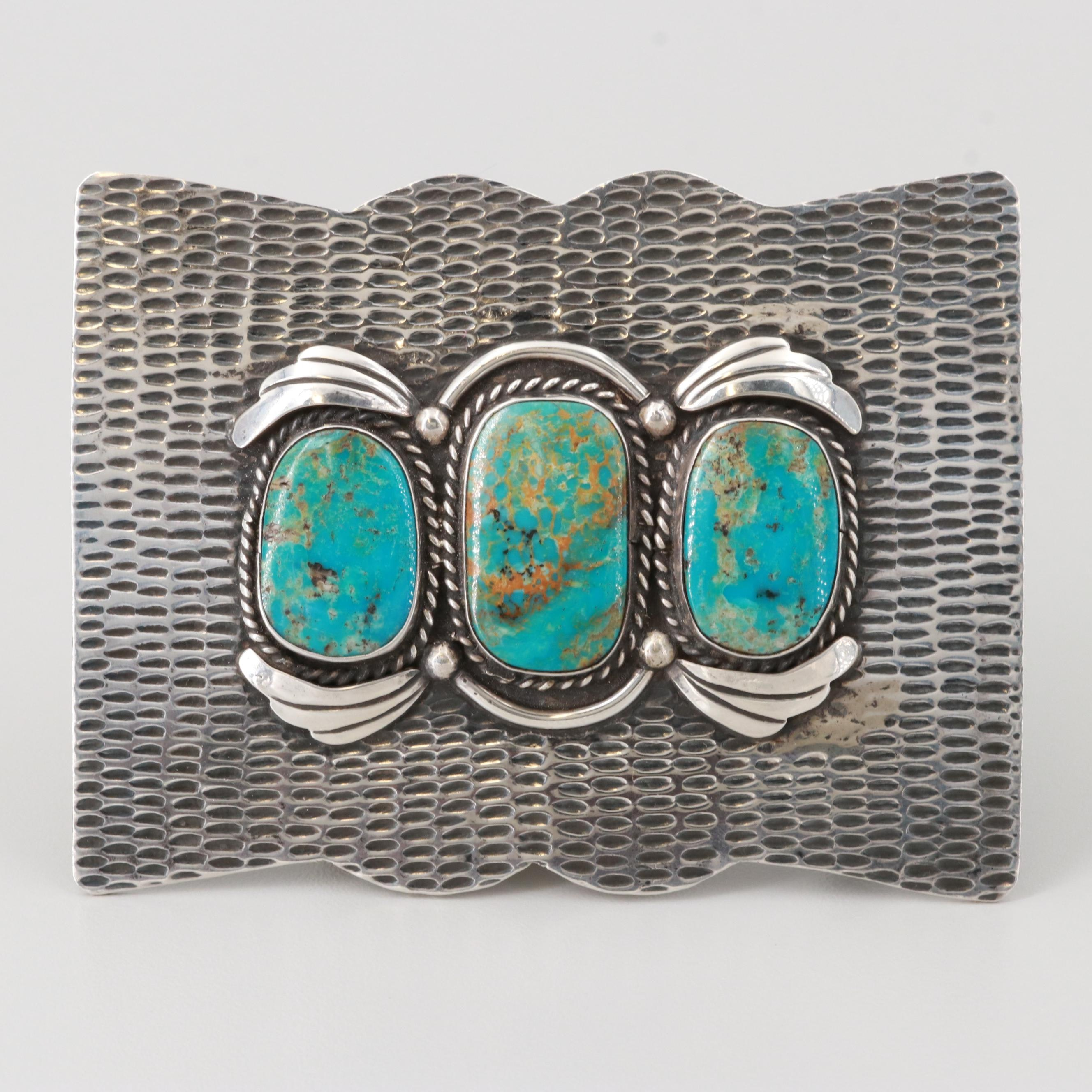 Southwest Style Sterling Silver Turquoise Belt Buckle