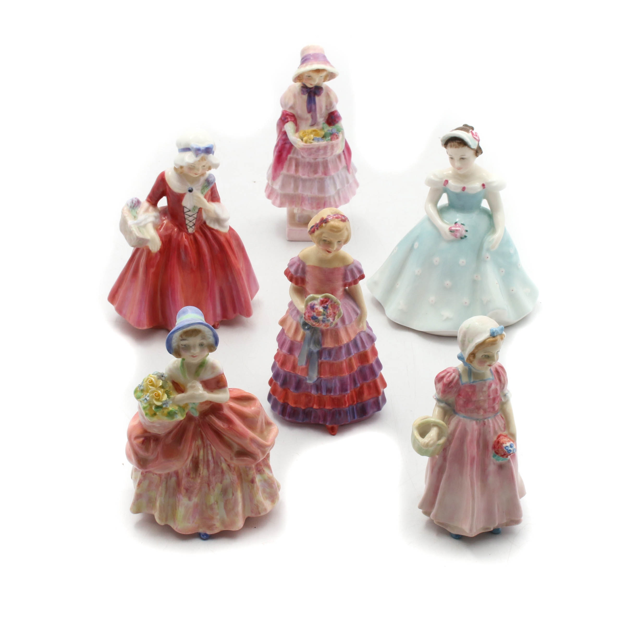 Royal Doulton Girls with Flowers Porcelain Figurines