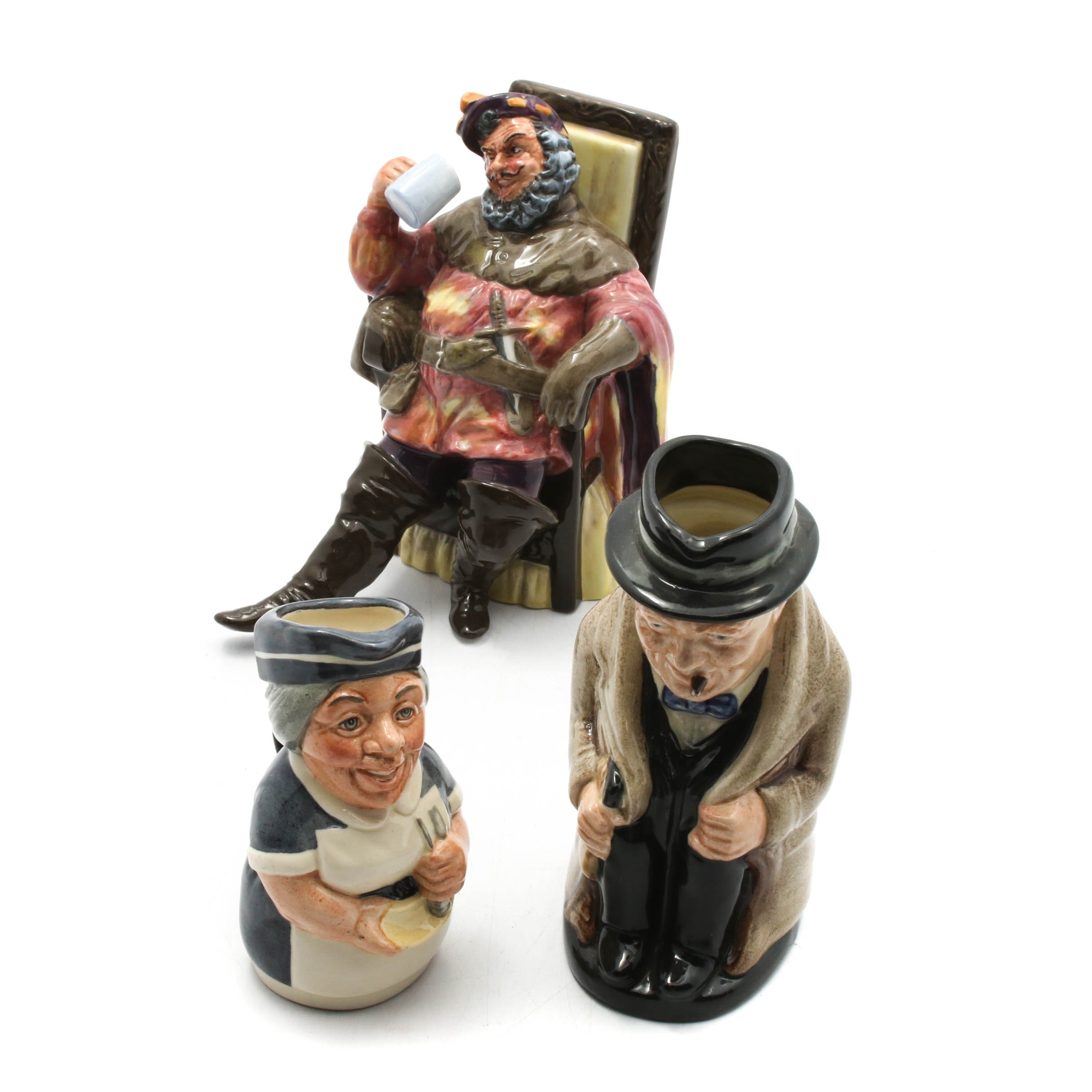 "Royal Doulton ""The Foaming Quart"" Porcelain Figurine with Toby Mugs"