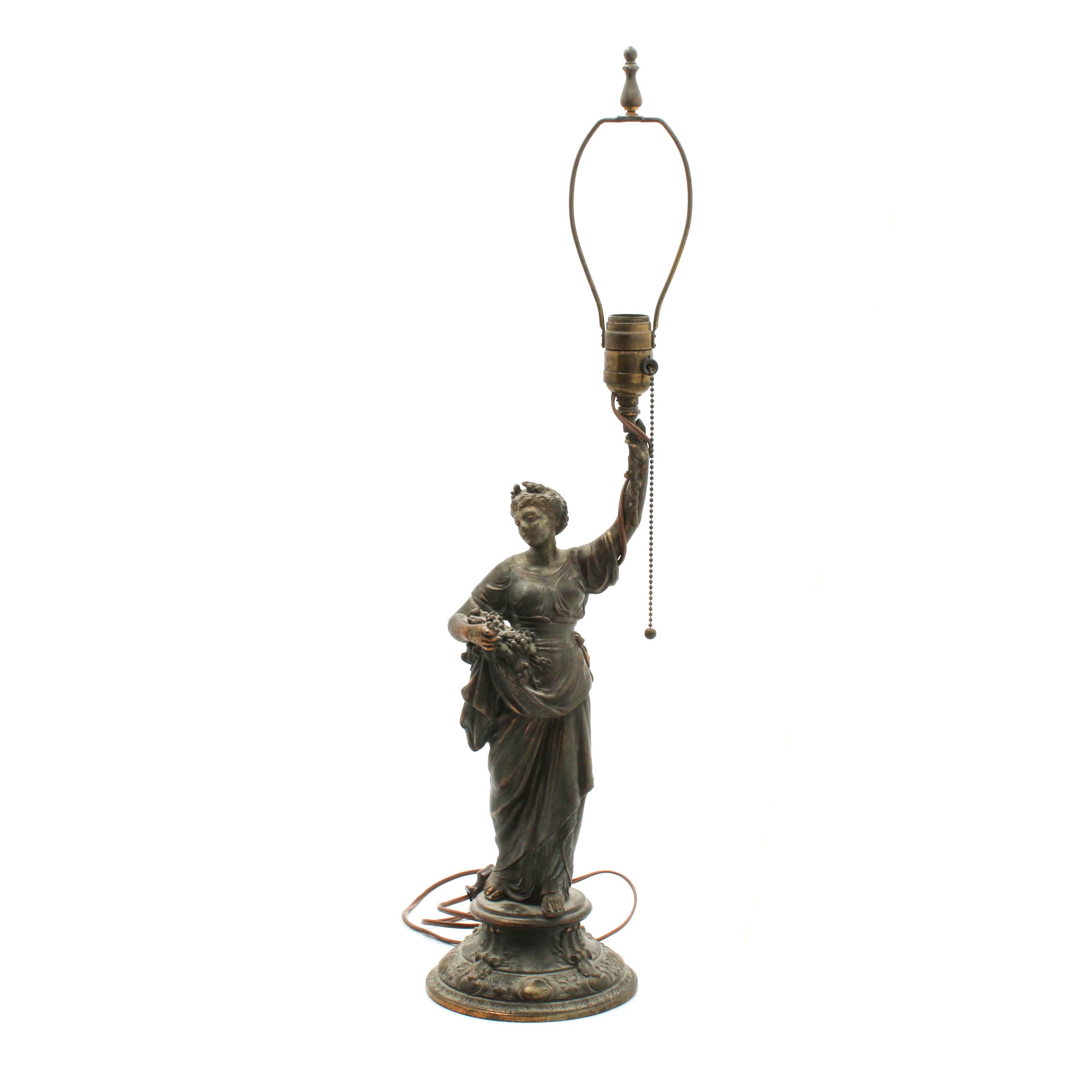 Neoclassical Style Female Figure Spelter Table Lamp, Mid-Century