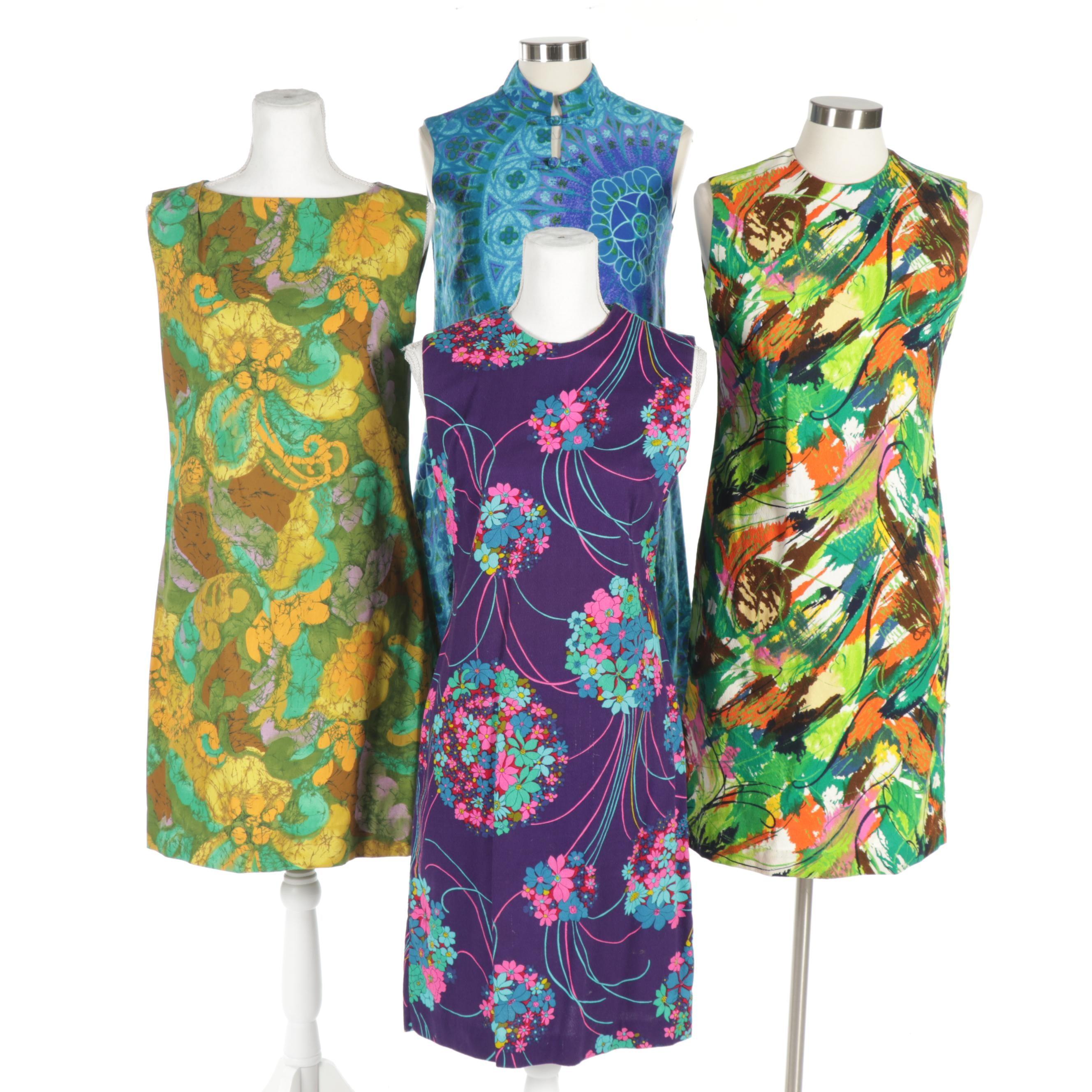 Women's John Abbott, HKC and Other Print Sleeveless Dresses, Circa 1960