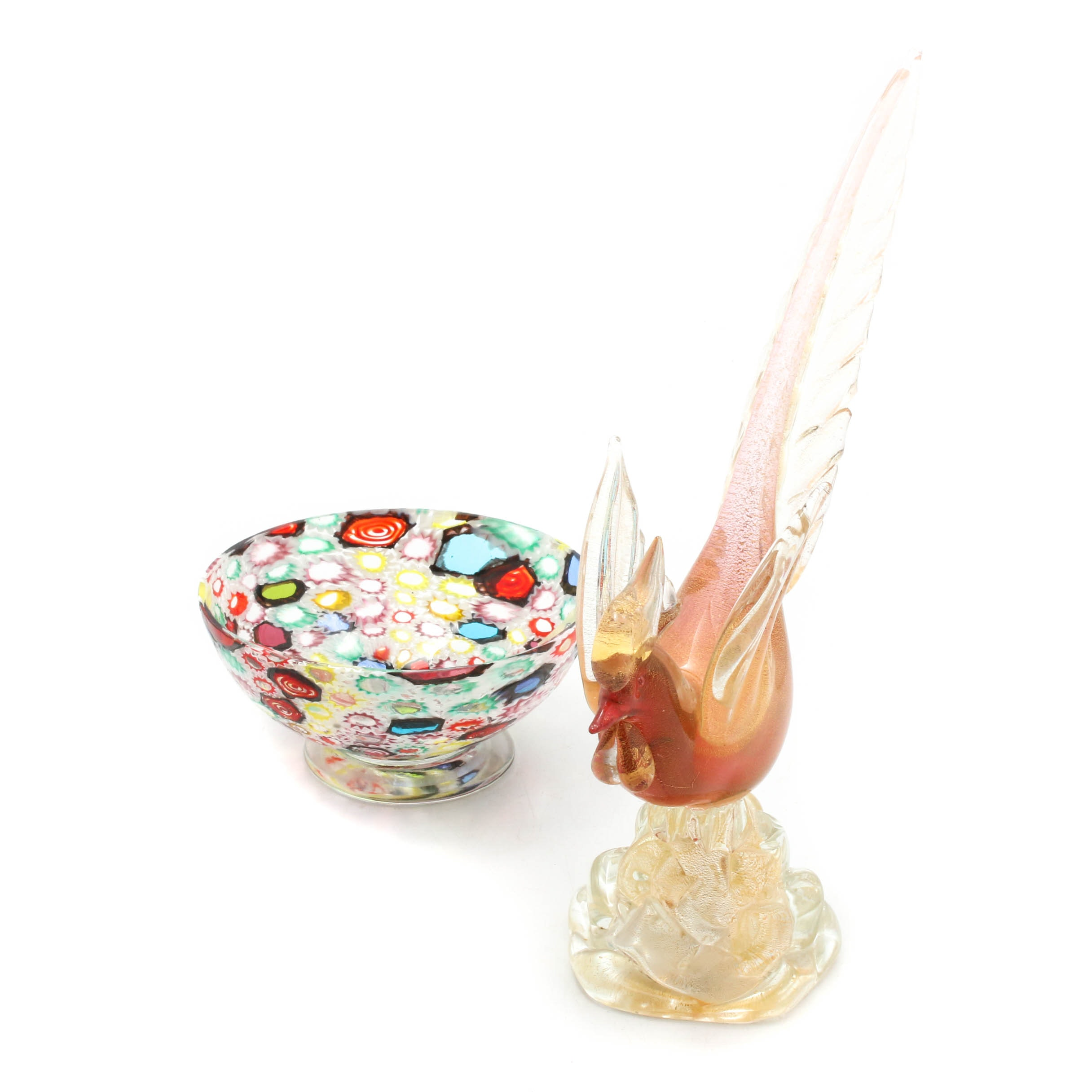 Murano Art Glass Rooster Sculpture with Candy Bowl