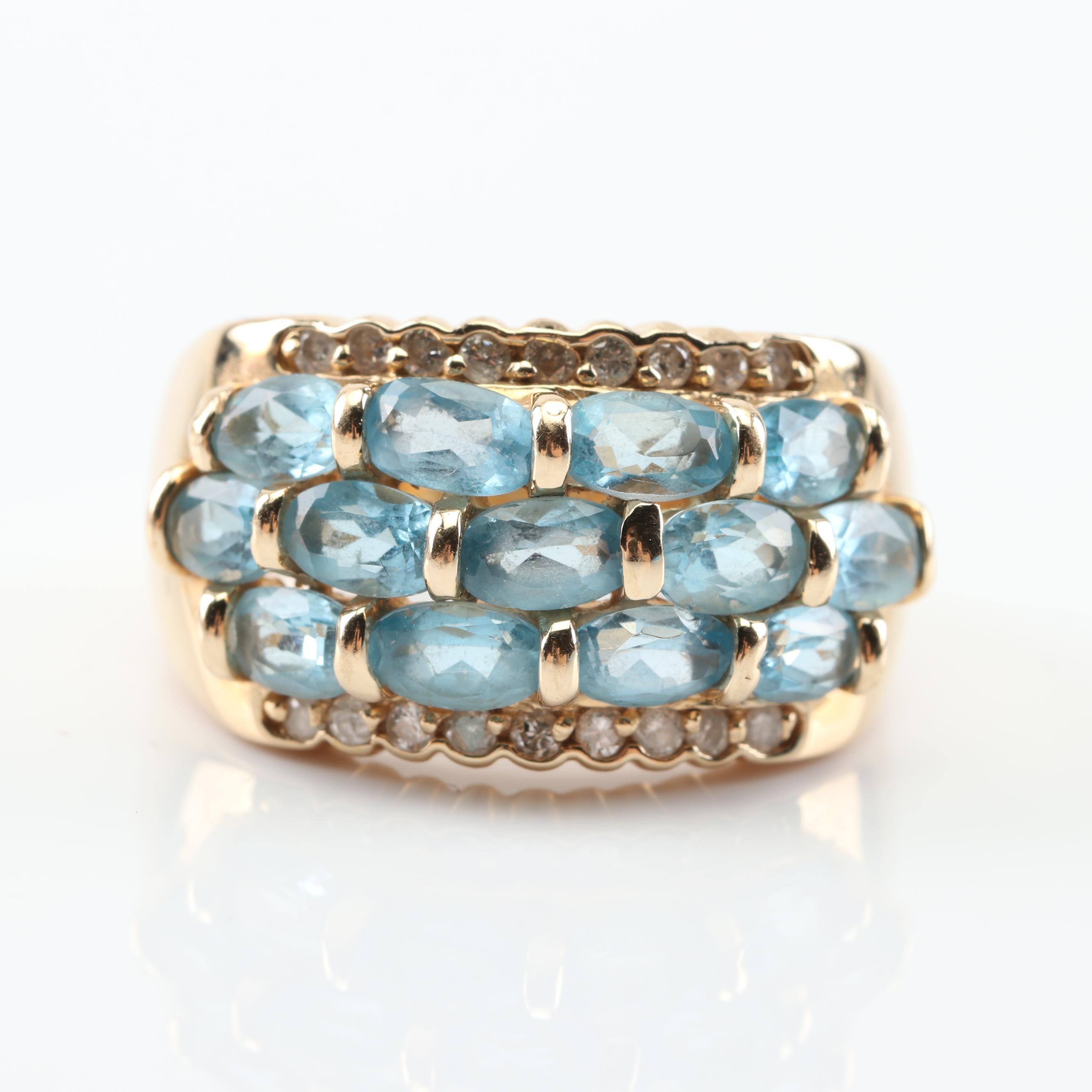 14K Yellow Gold 3.38 CTW Blue Topaz and Diamond Ring