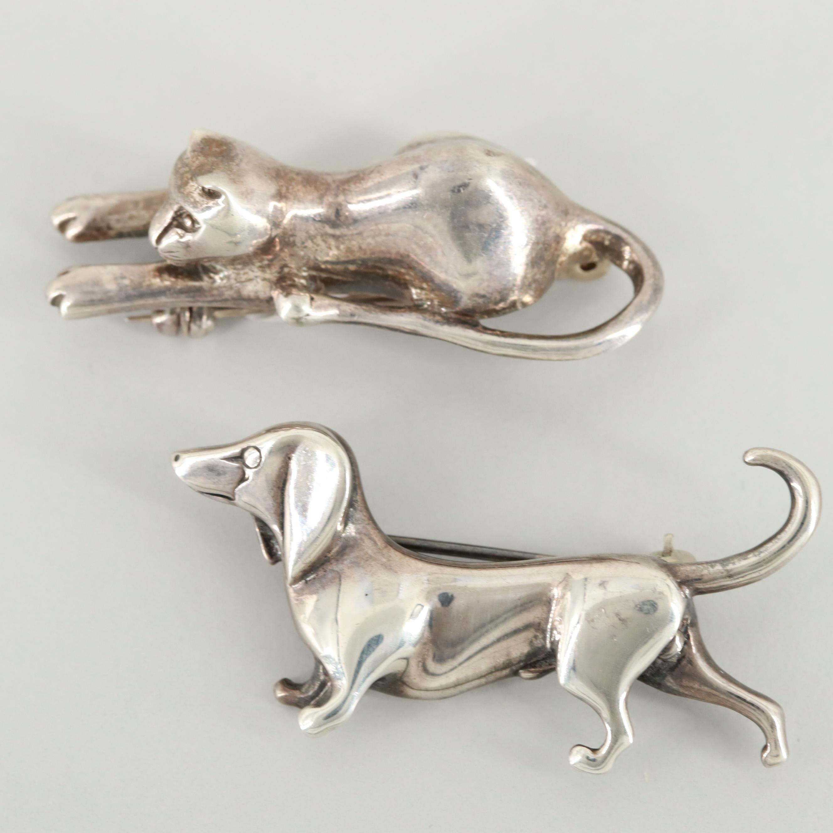 Vintage Sterling Silver Cat and Dachshund Brooches