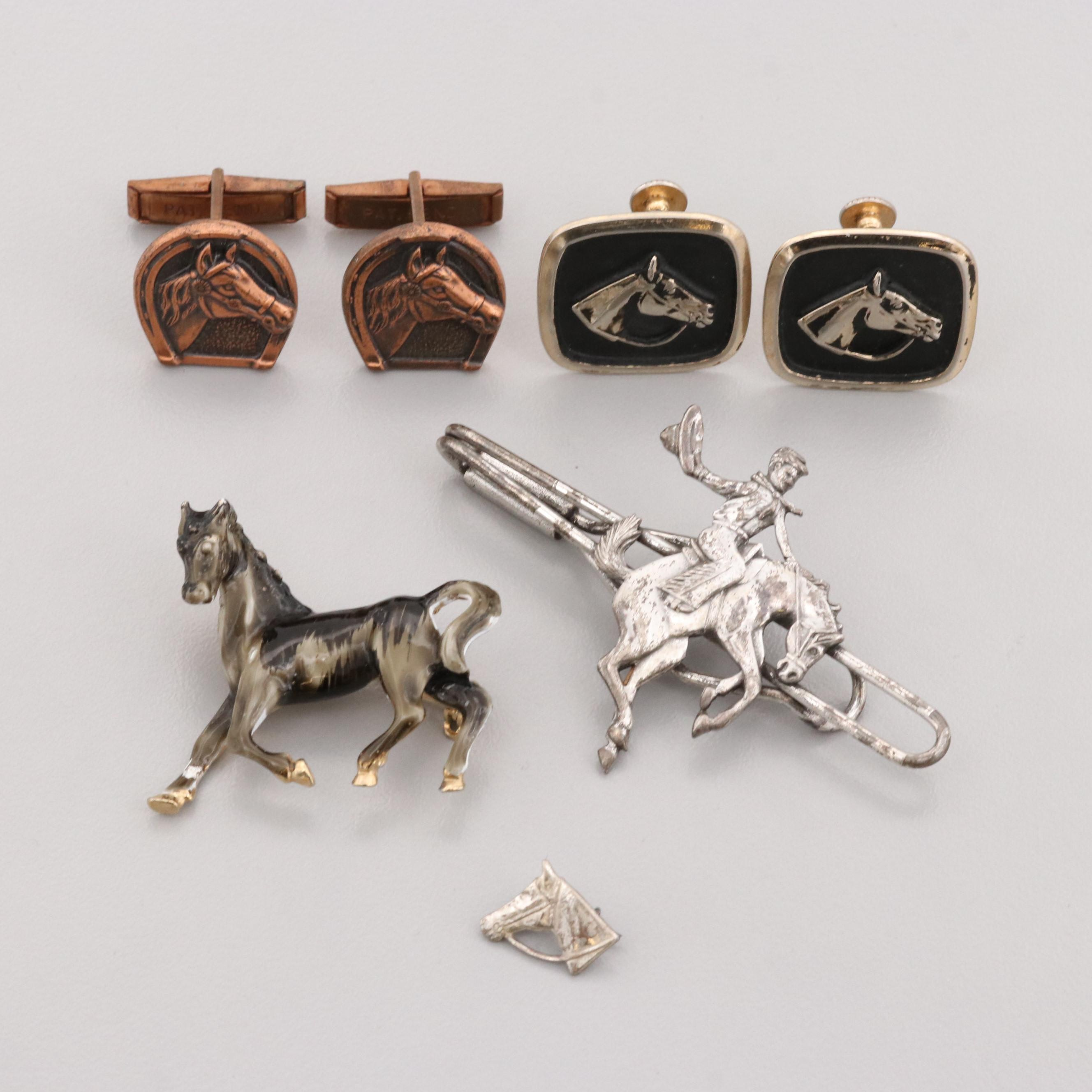 Vintage Silver Tone and Gold Tone Equine Themed Jewelry