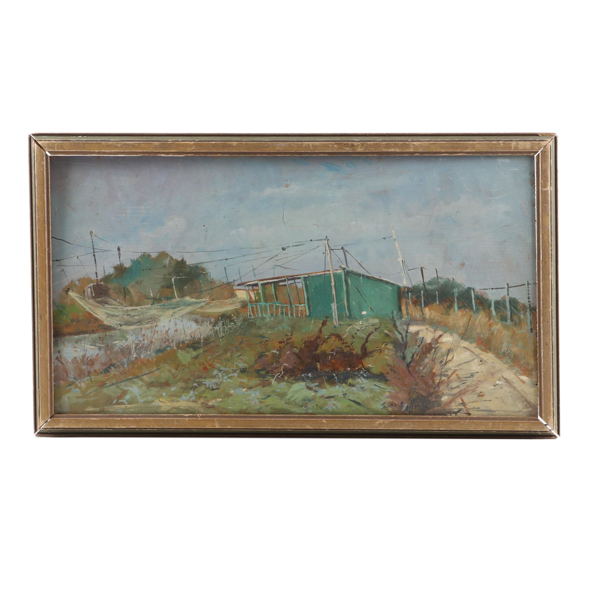 Early-Mid 20th Century Italian Landscape Oil Painting