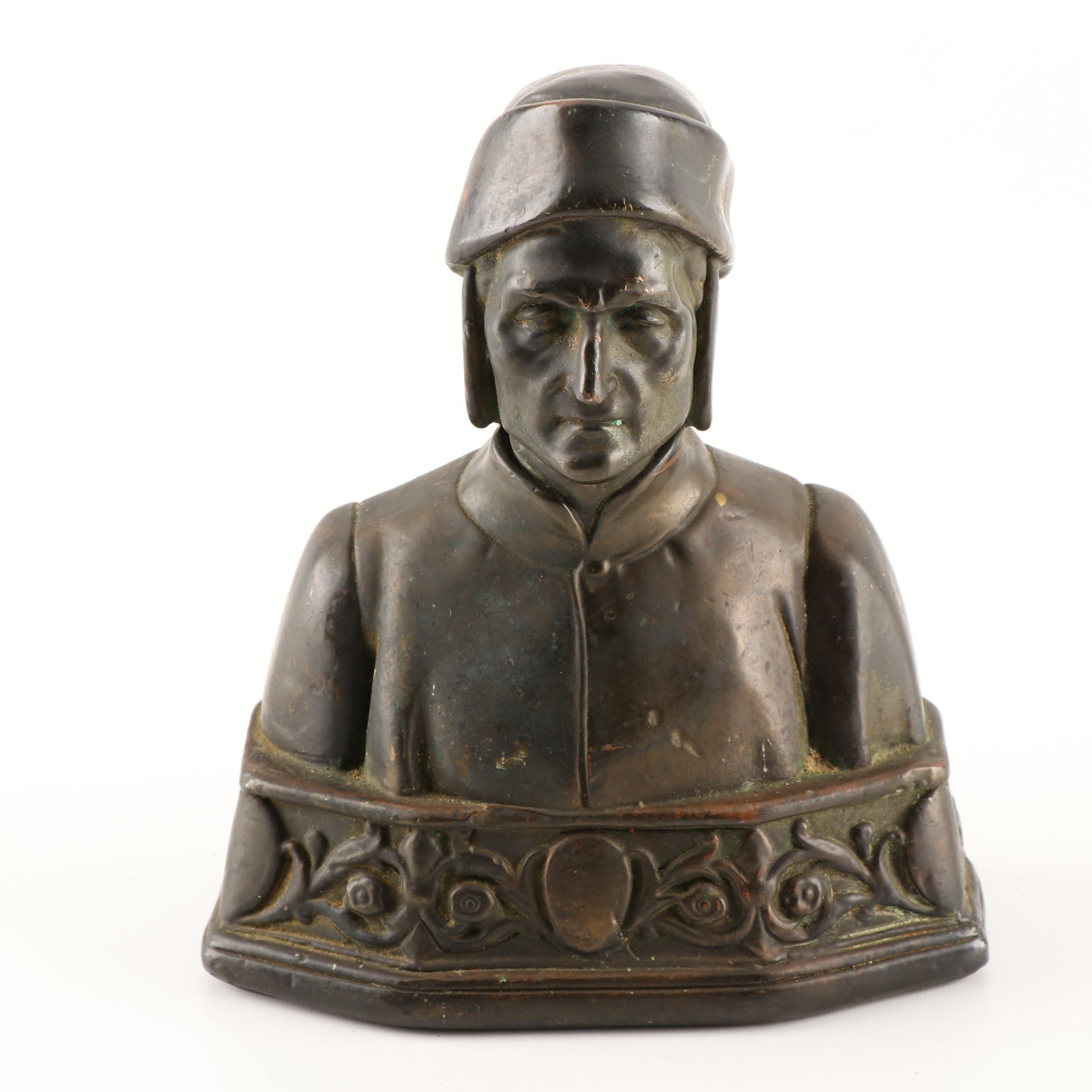 Cast Metal Bust of Dante