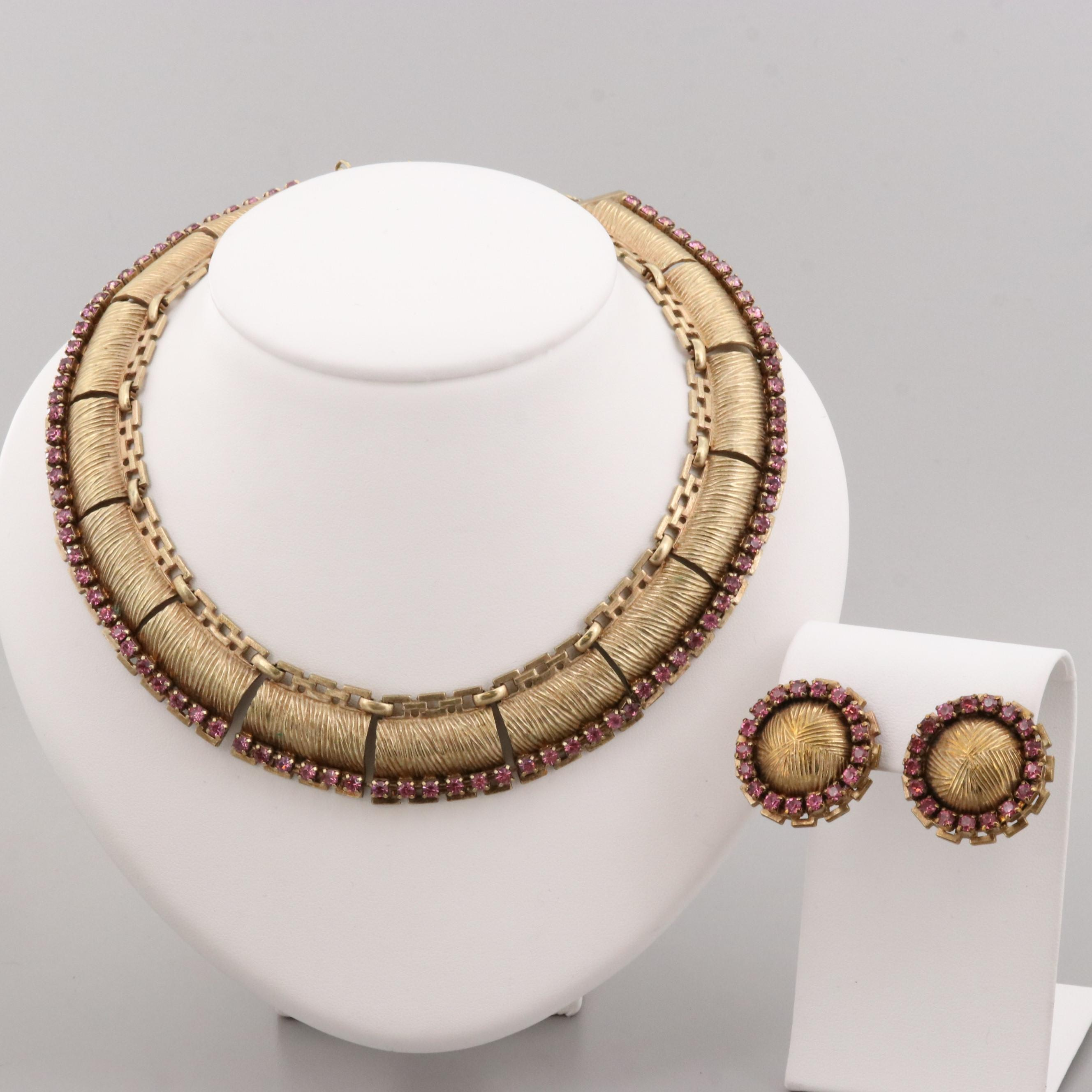 Gold Tone Foilback Glass Necklace and Earring Set