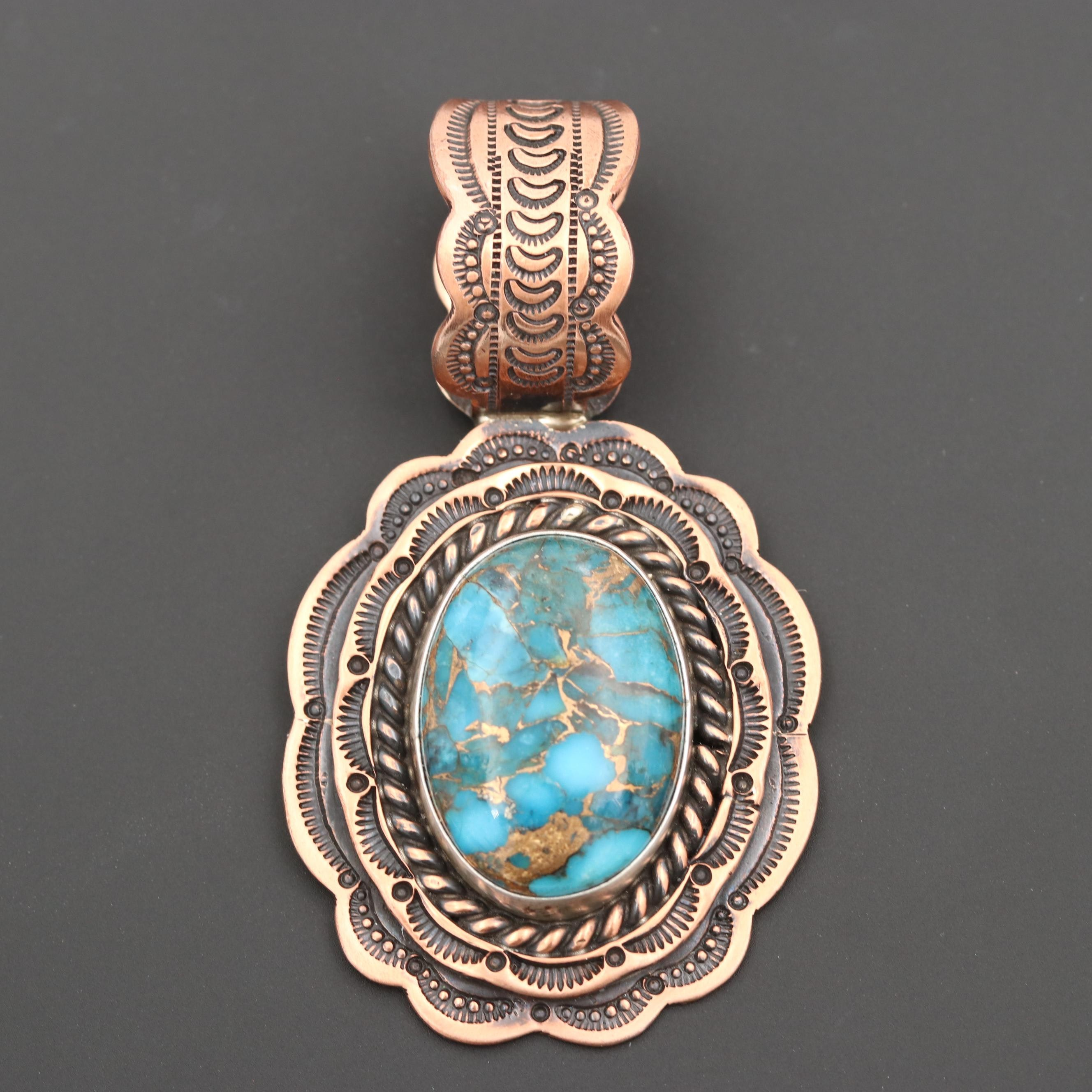 Wallace Jr. Sterling Silver and Copper Turquoise Pendant