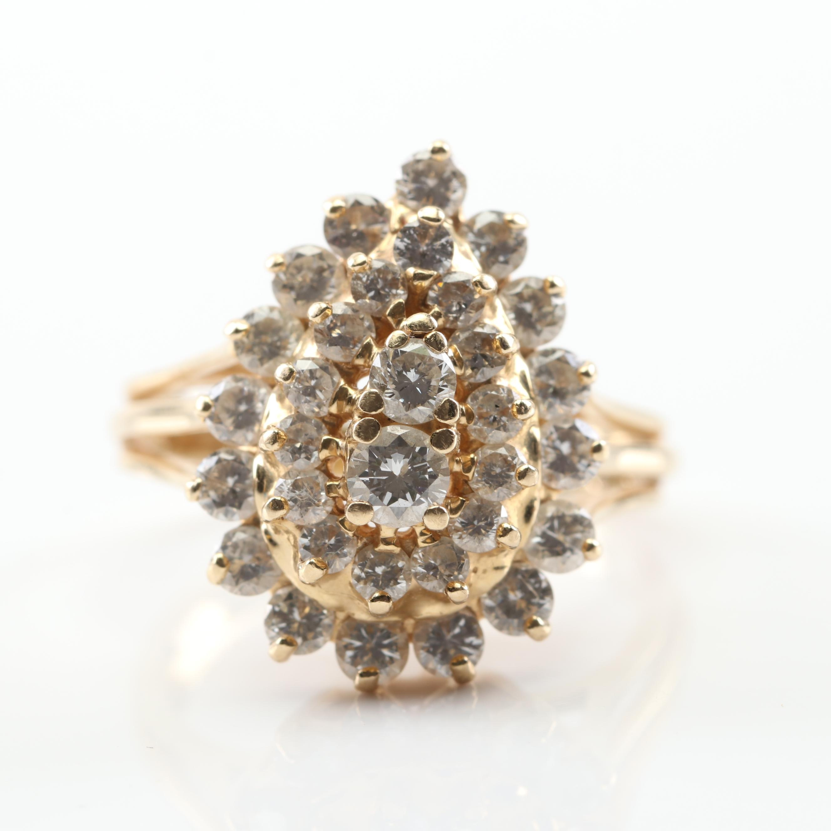 14K Yellow Gold 1.59 CTW Diamond Cluster Ring