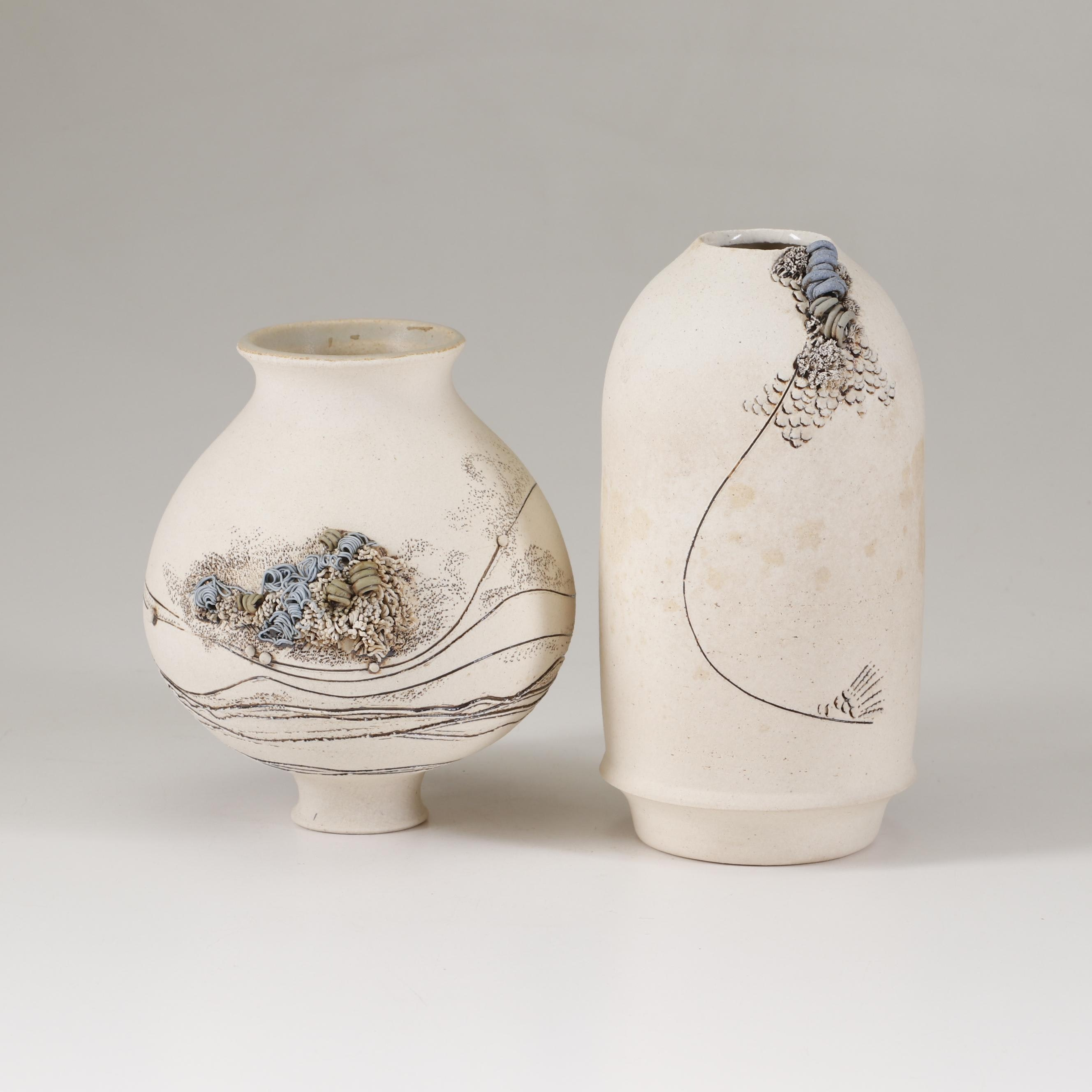 Thrown White Stoneware Vases with Applied Decoration