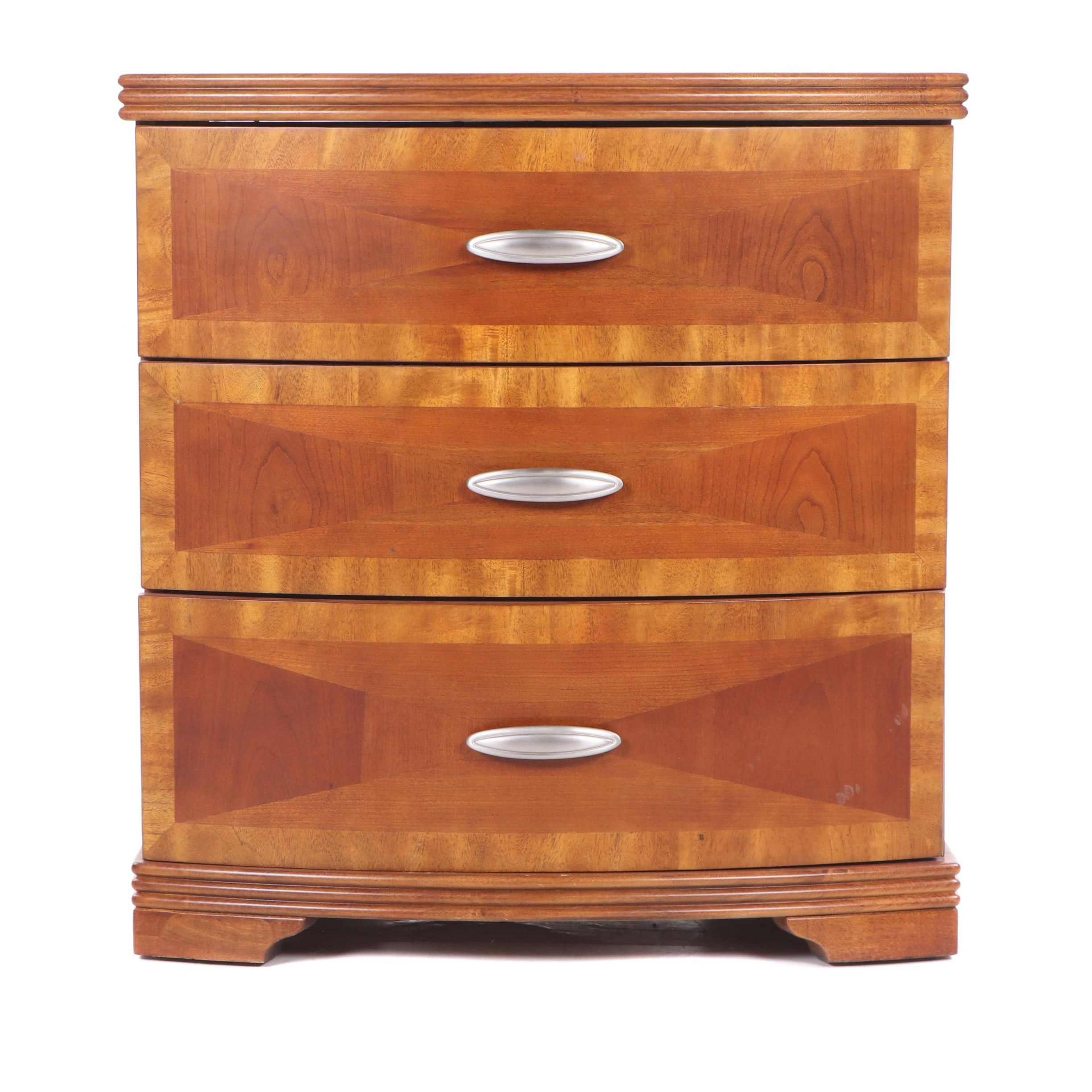 Contemporary Art Deco Style Wood Nightstand