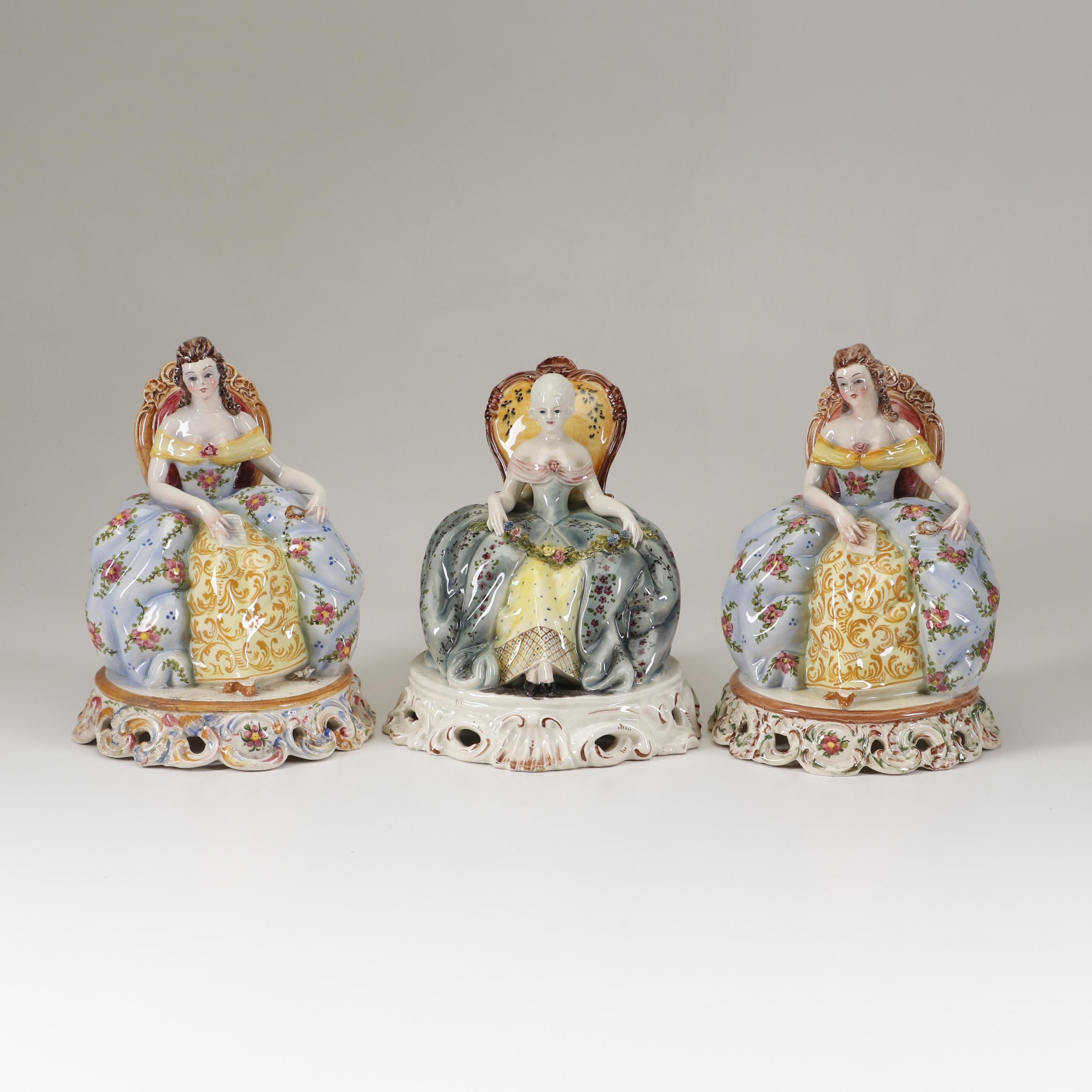 Italian Capodimonte Style Seated Lady Ceramic Figurines