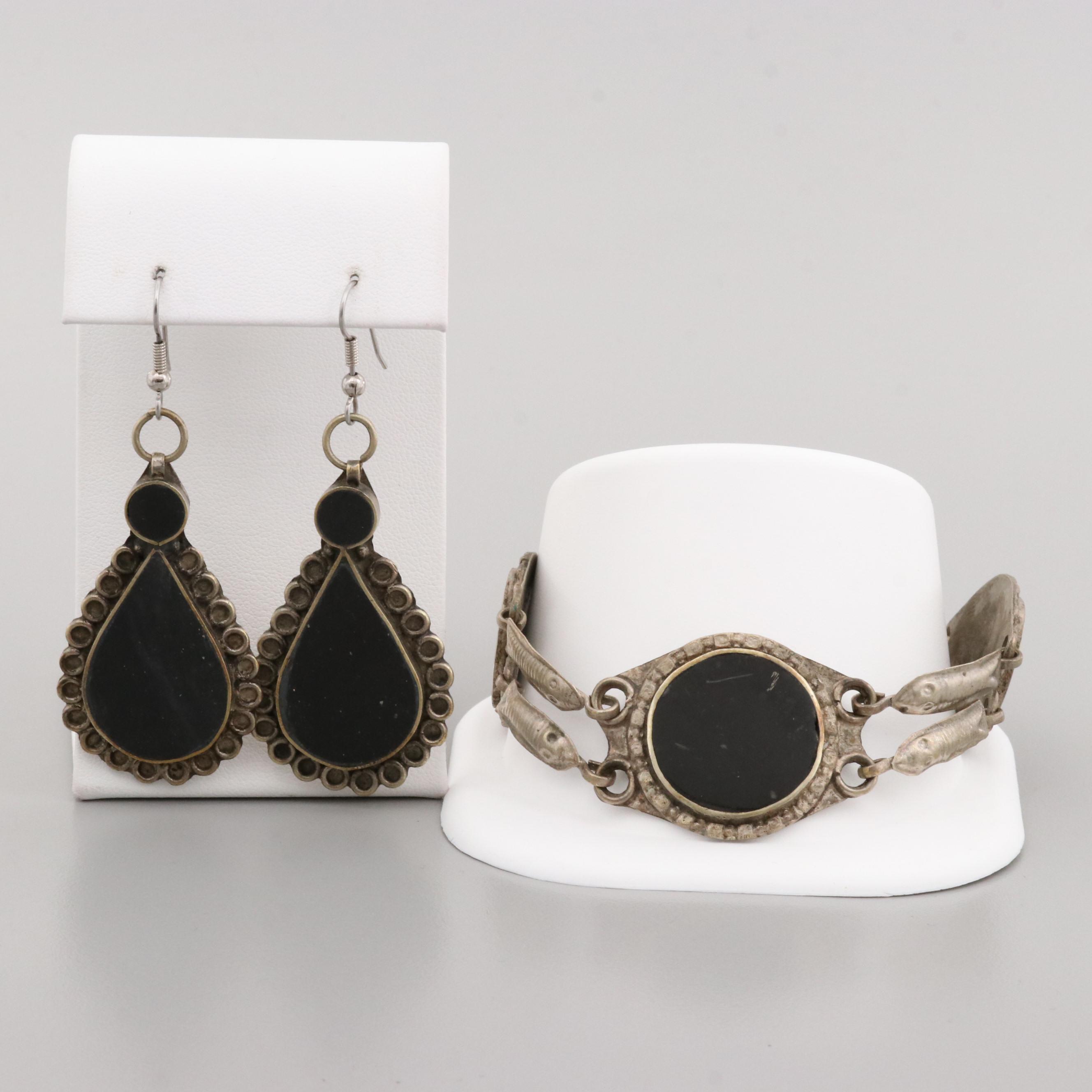 Silver Tone Fossiliferous Limestone Bracelet and Earring Set