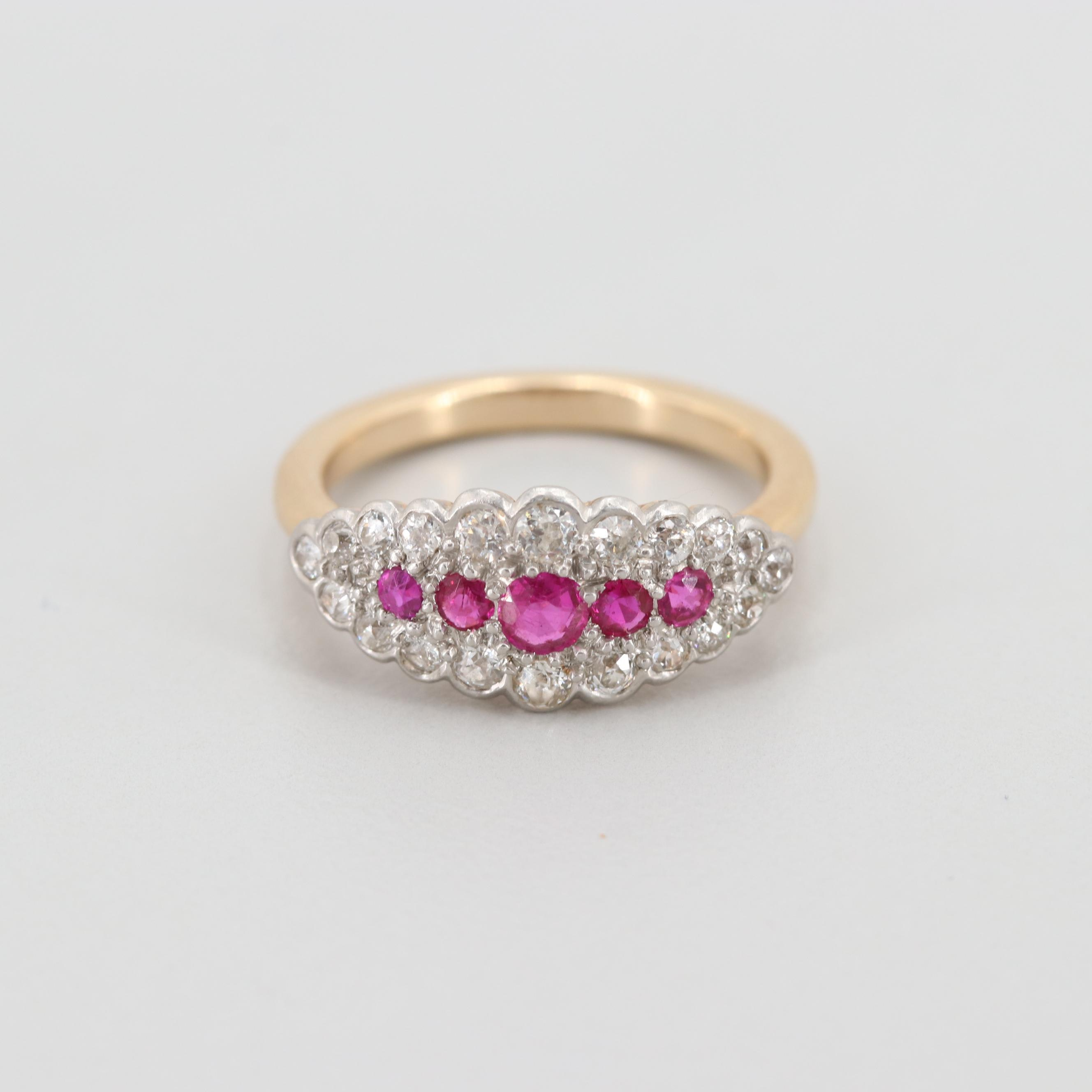 Vintage 14K Yellow Gold Ruby and Diamond Ring with Platinum Top
