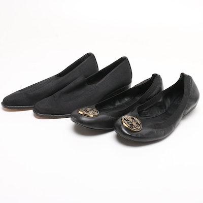 a4121034a2ba Tory Burch Black Leather Logo Flats and Donald J Pliner Block Heel Pumps