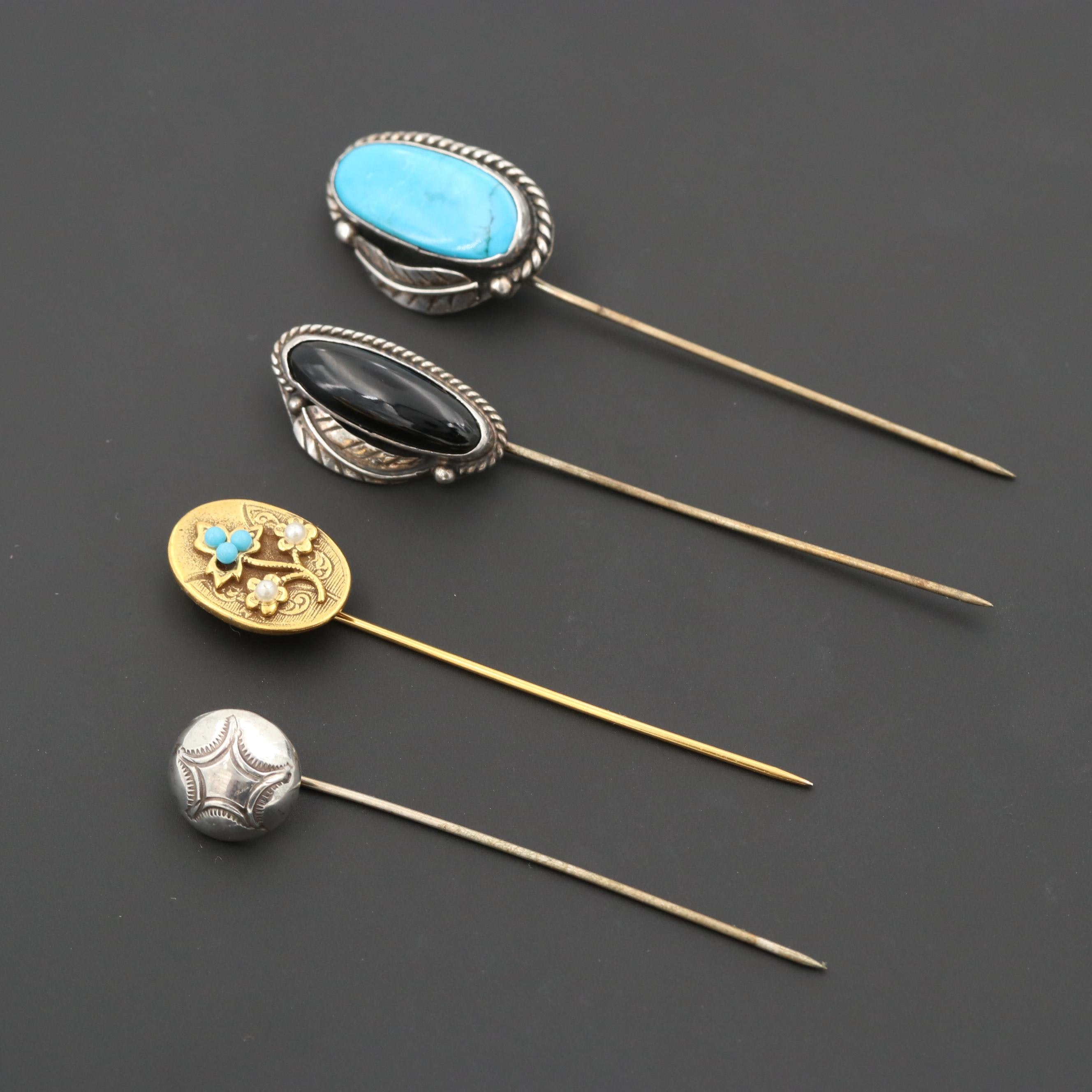 Sterling Silver and Silver Tone Stick Pins with Obsidian and Turquoise
