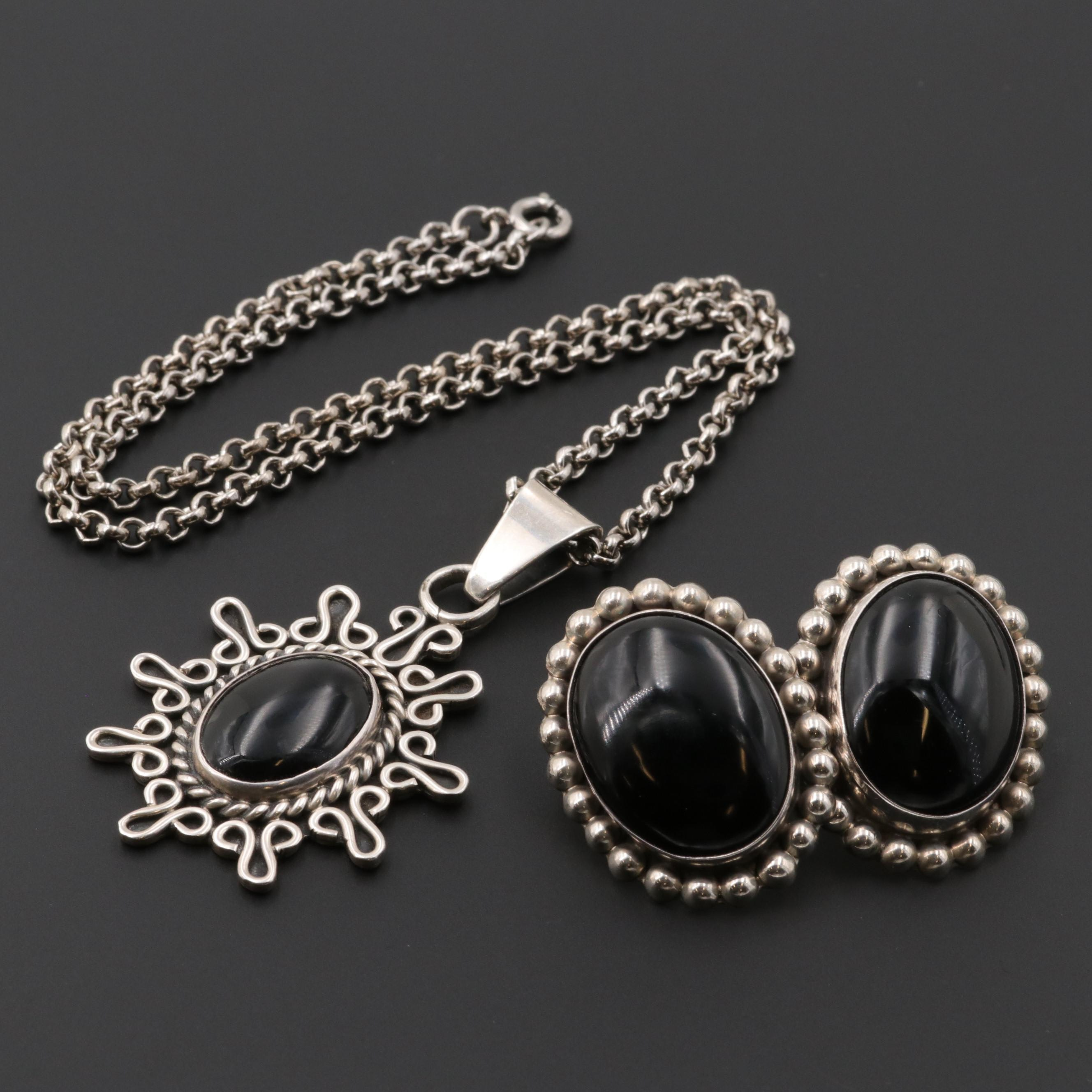 Mexican Sterling Silver Obsidian and Black Onyx Earrings and Pendant Necklace